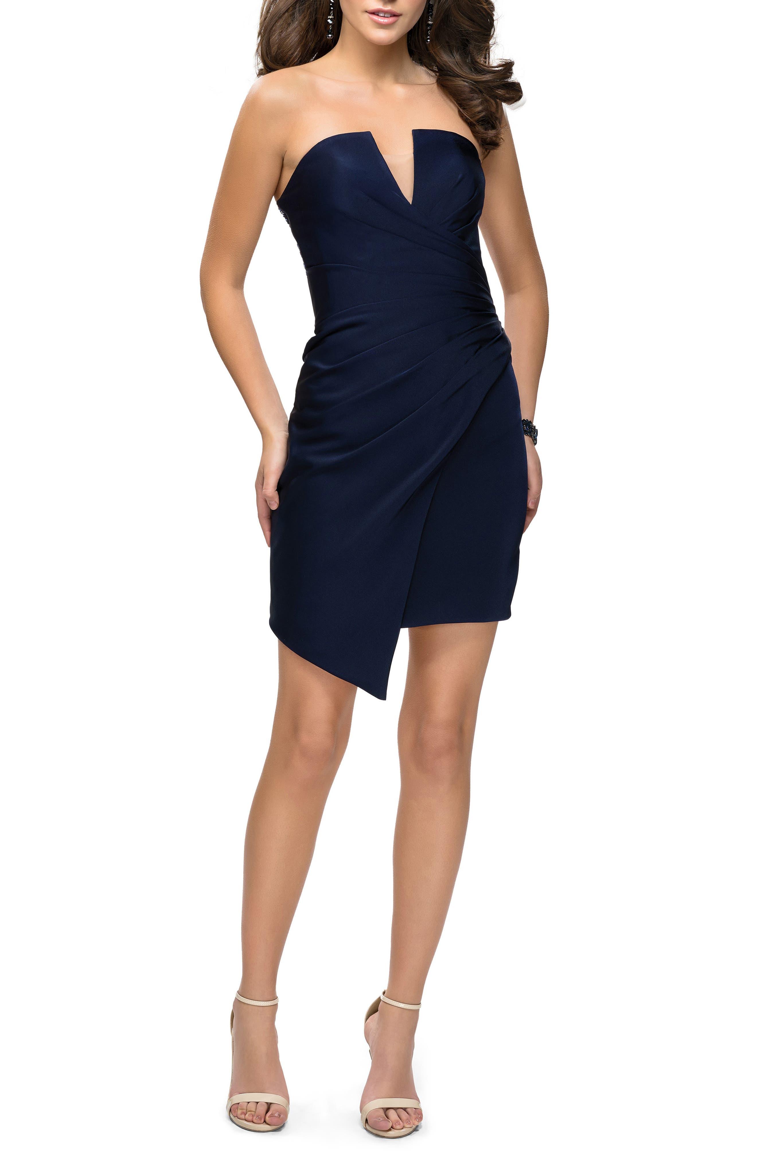 LA FEMME Strapless Asymmetrical Party Dress in Navy