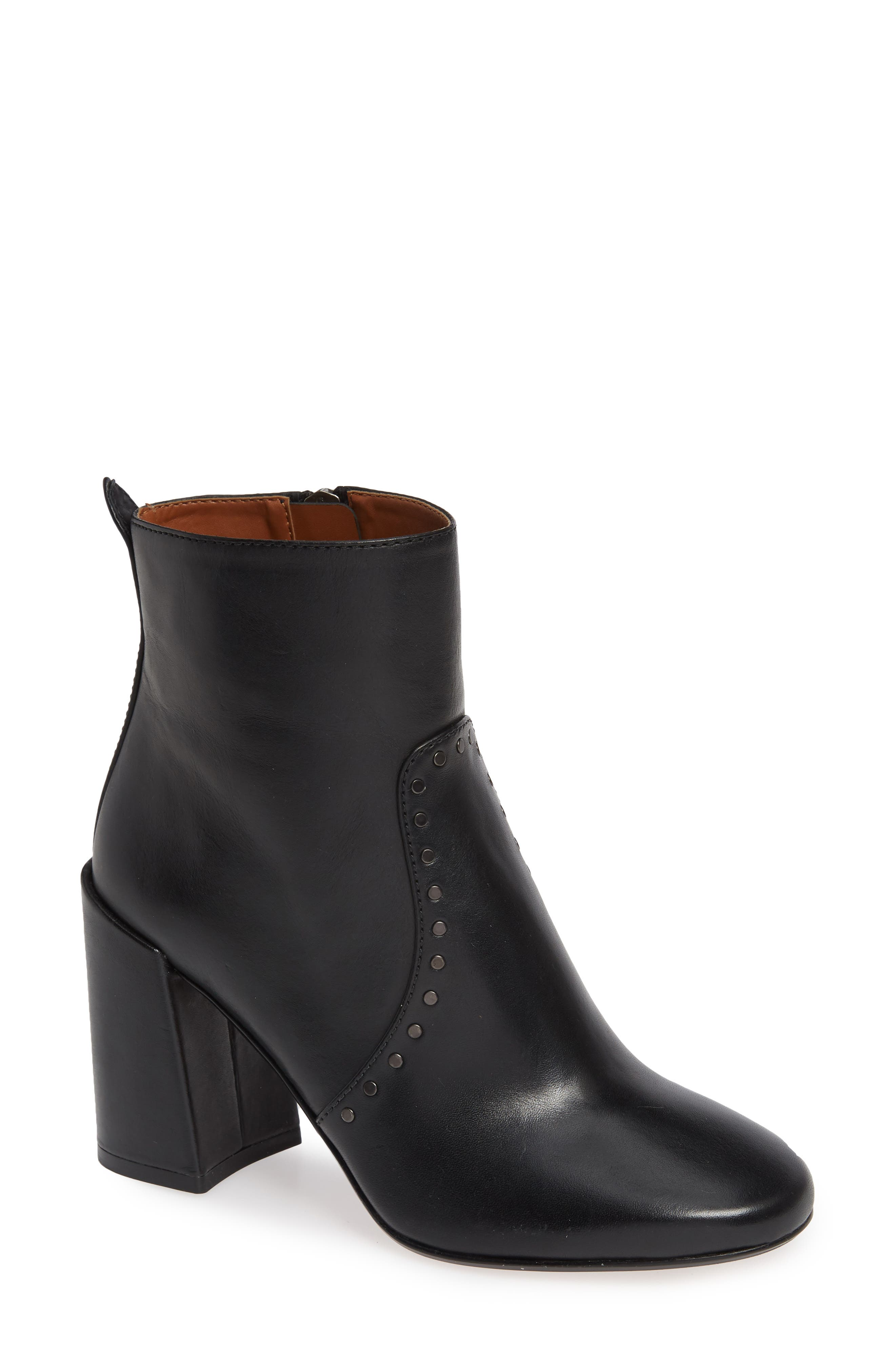 Farrah Studded Bootie,                         Main,                         color, BLACK LEATHER