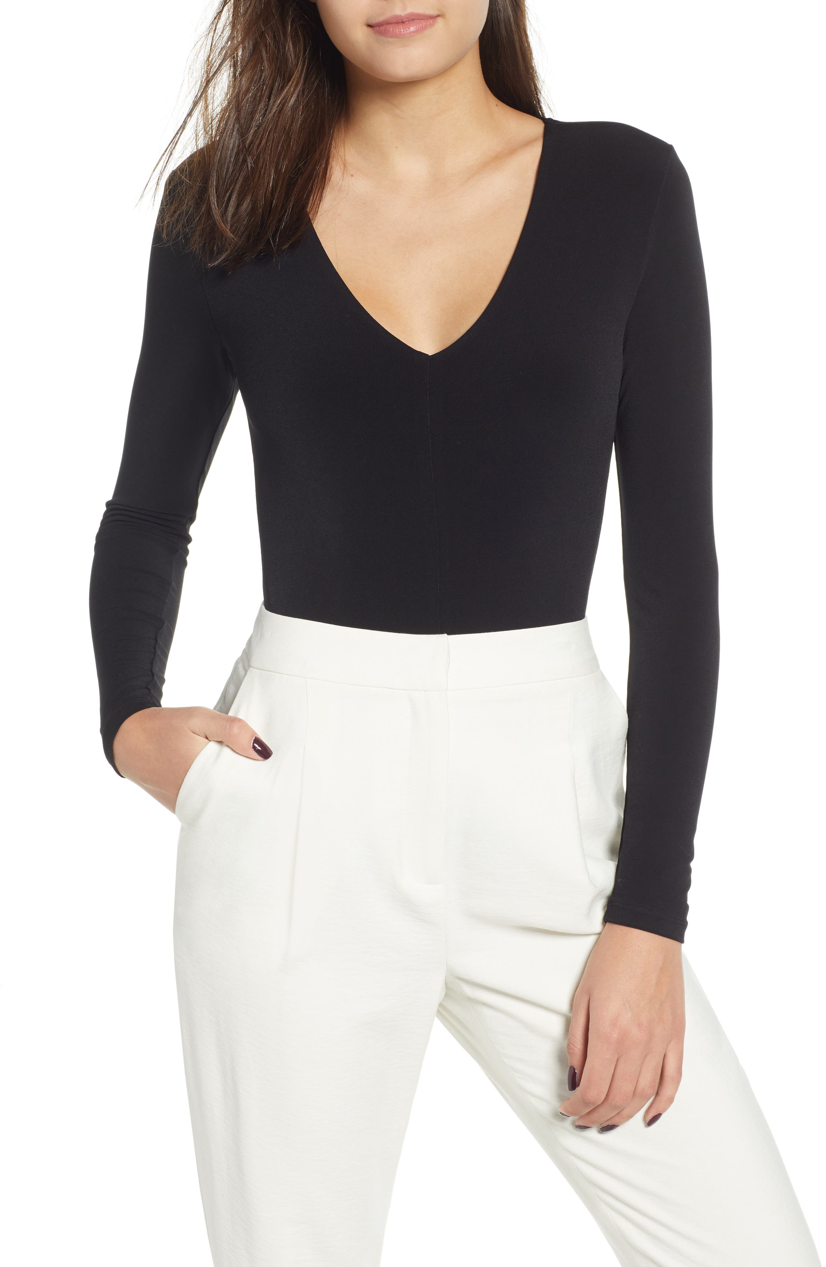 Deep V-Neck Long Sleeve Bodysuit,                             Main thumbnail 1, color,                             BLACK