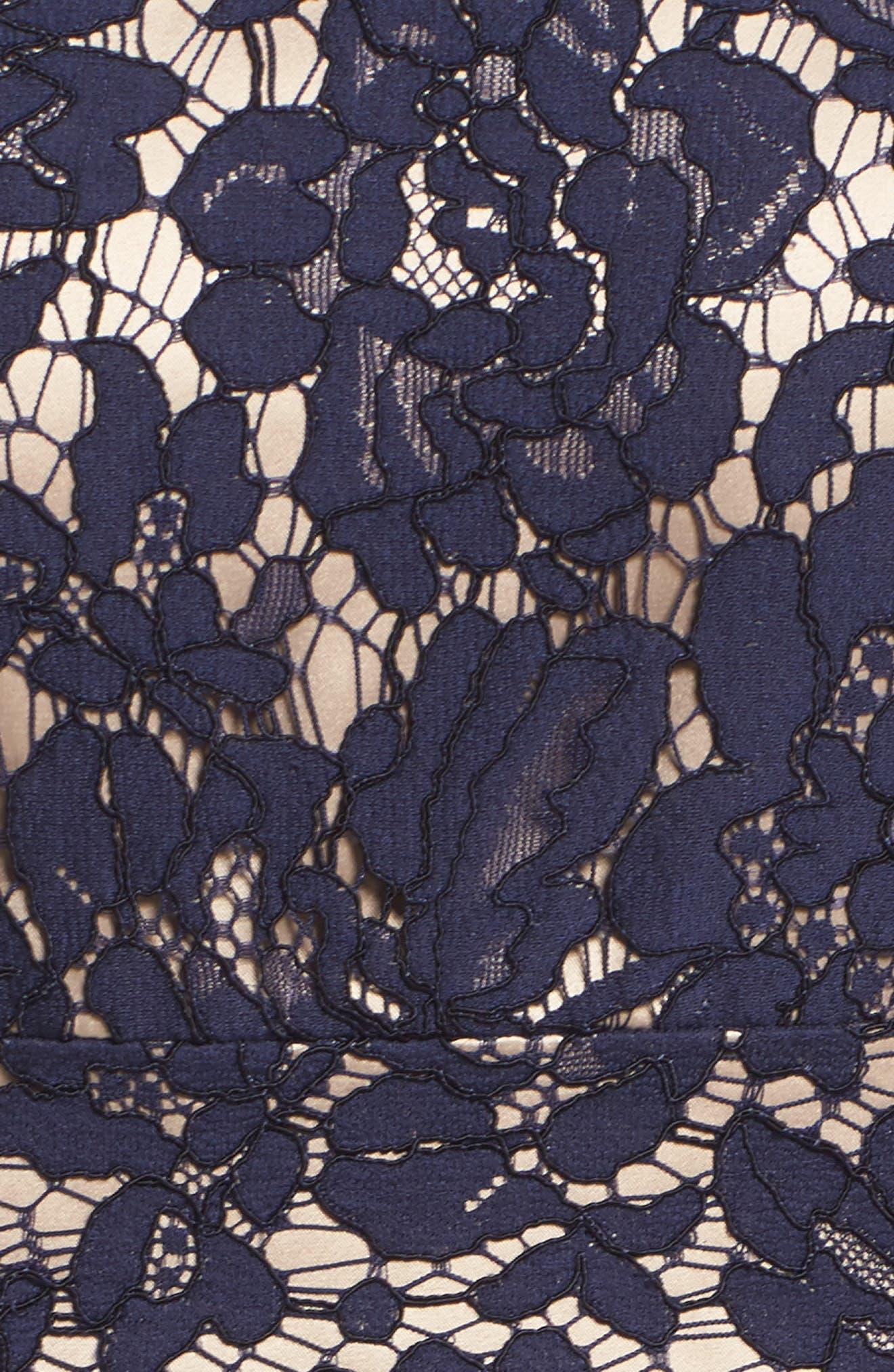 Illusion Yoke Lace Fit & Flare Dress,                             Alternate thumbnail 5, color,                             410