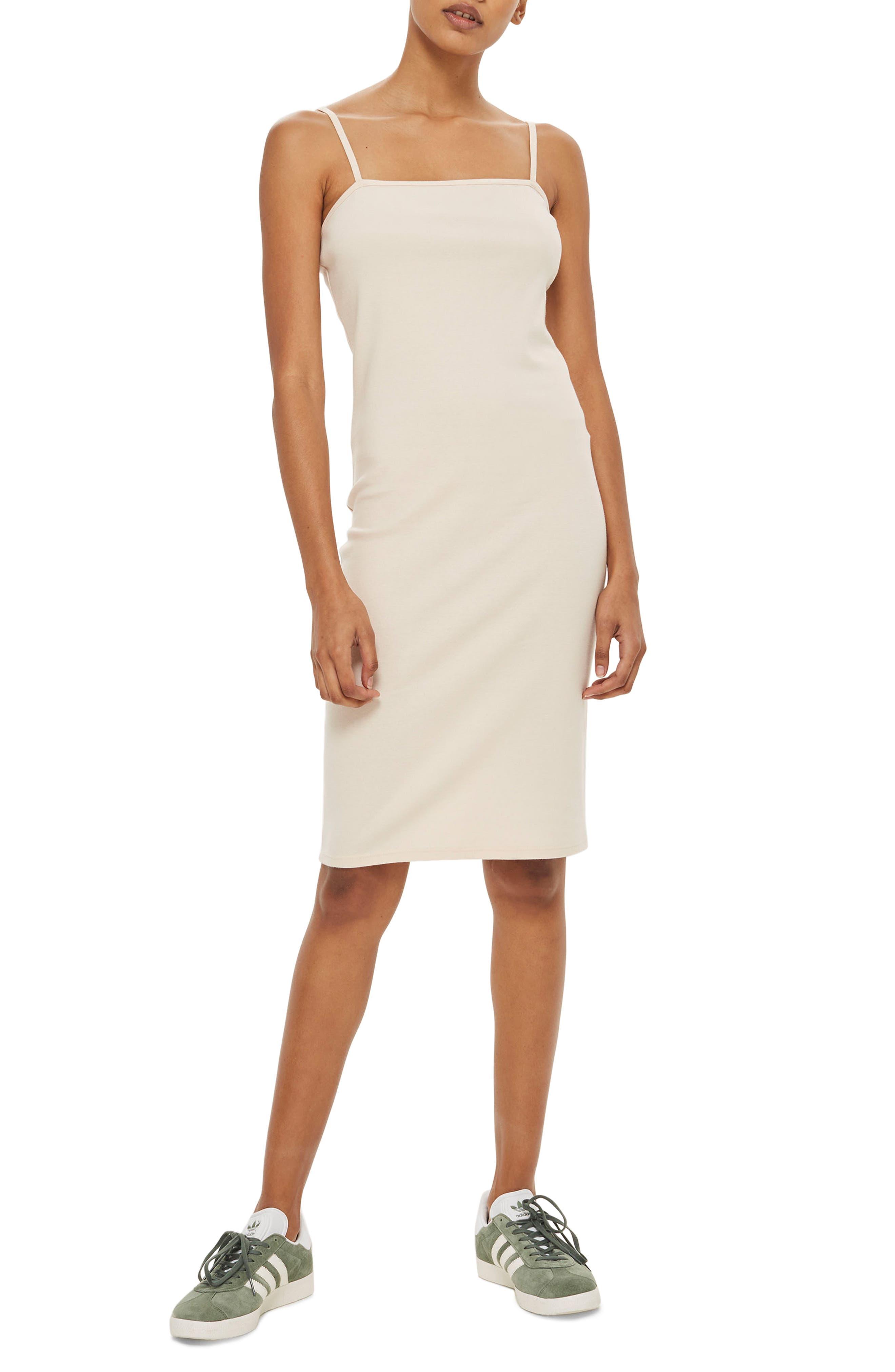 Square Neck Dress,                             Main thumbnail 1, color,                             NUDE