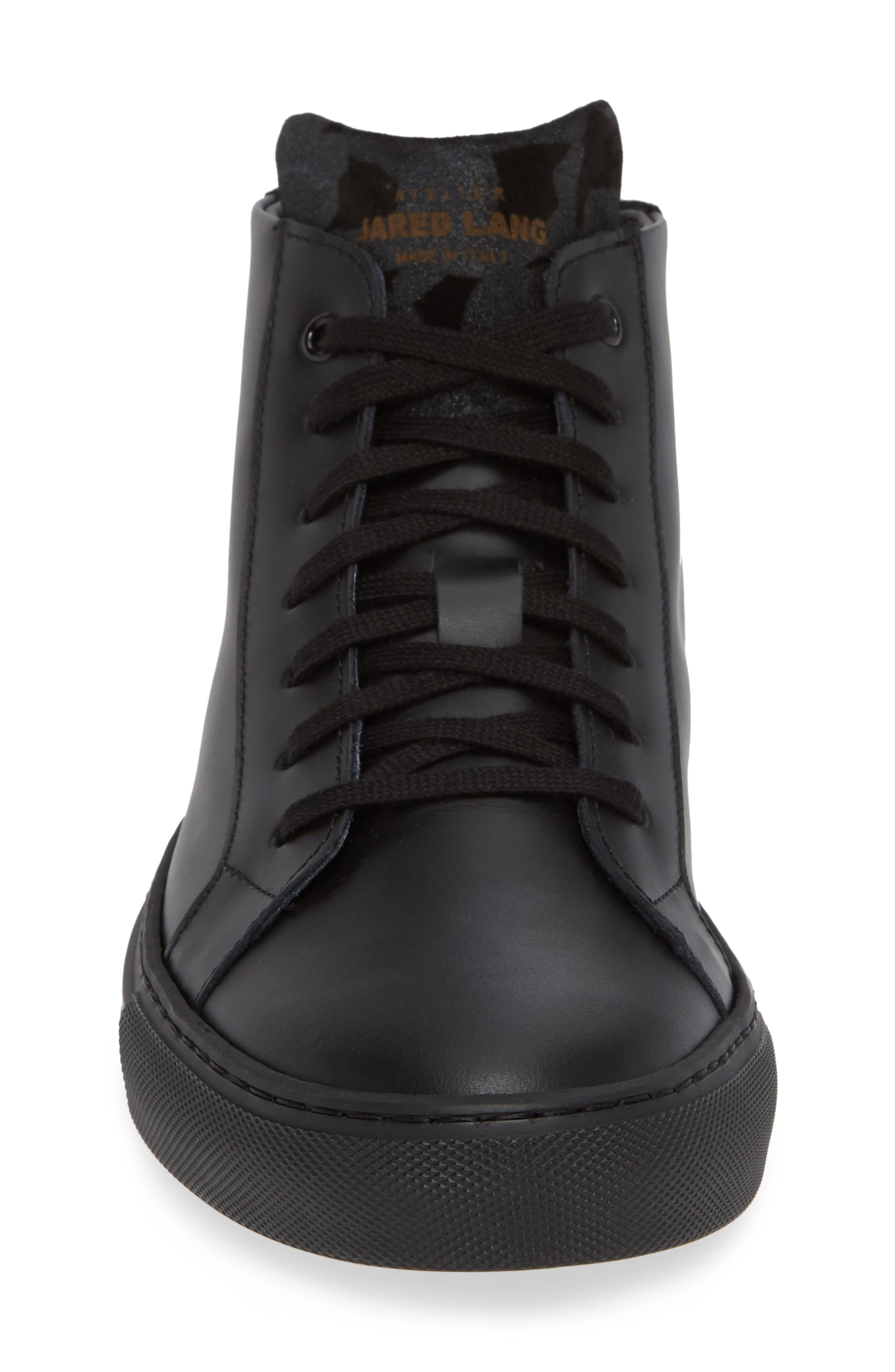 Rome High Top Sneaker,                             Alternate thumbnail 4, color,                             BLACK