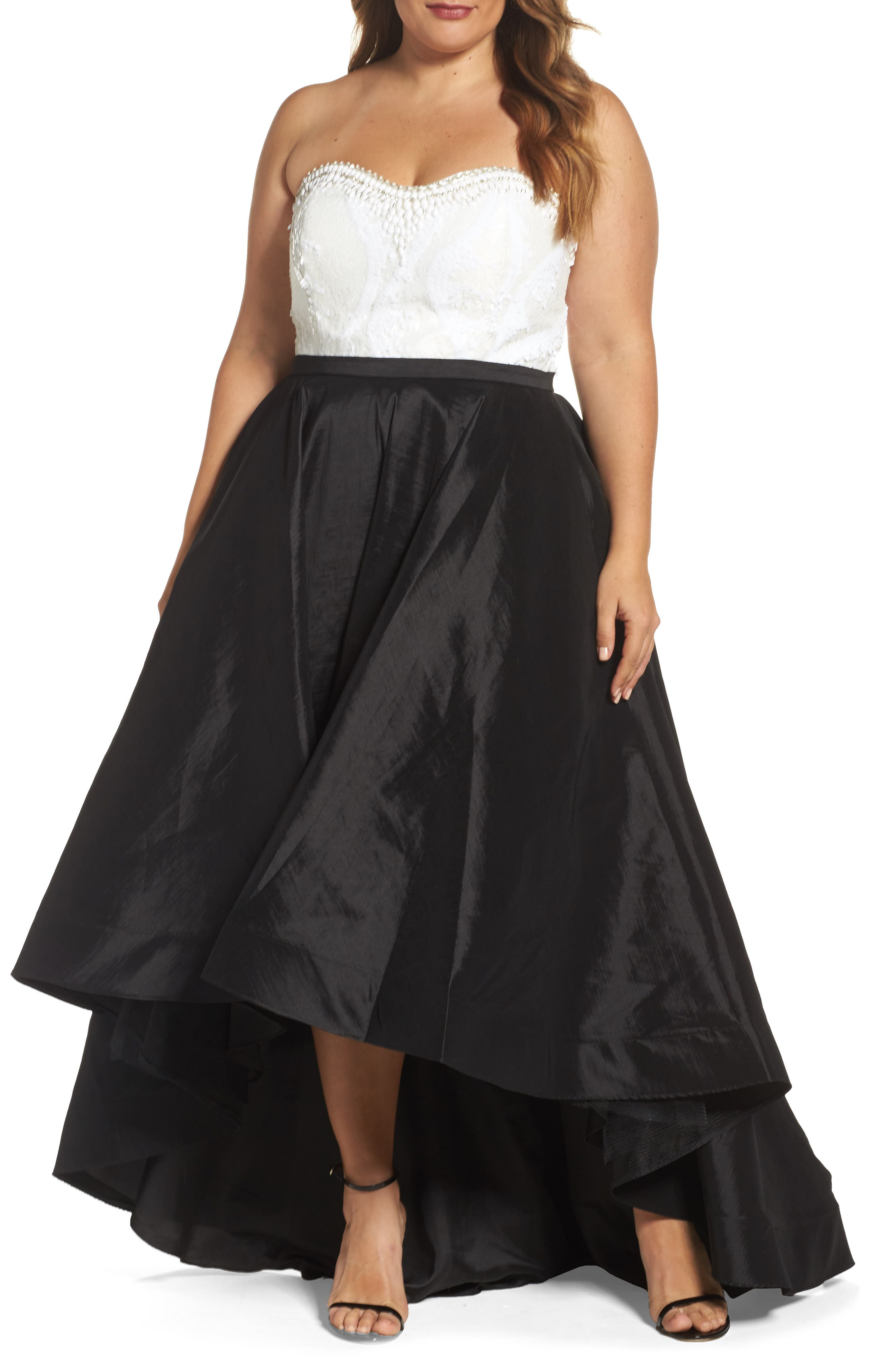 Embellished Lace & Taffeta Strapless High/Low Gown,                             Main thumbnail 1, color,                             BLACK/ WHITE