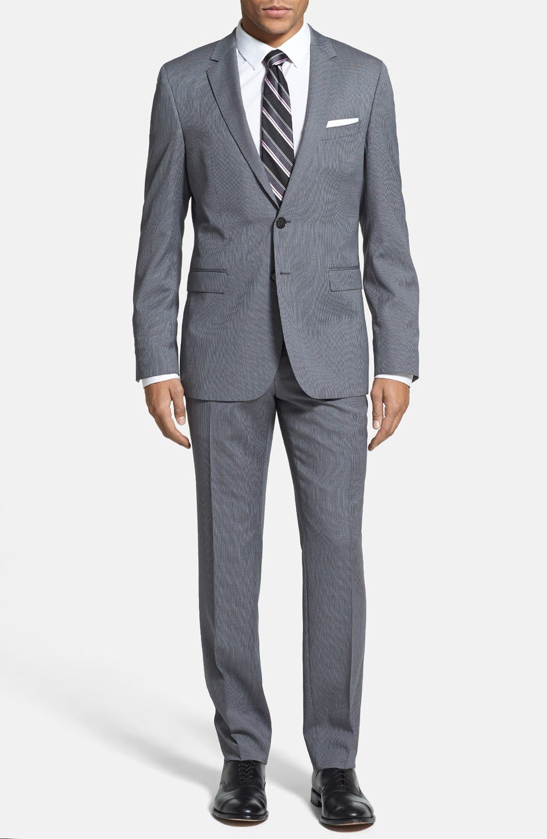 ZZDNUHUGO BOSS,                             BOSS HUGO BOSS 'Ryan/Win' Extra Trim Fit Stripe Suit,                             Main thumbnail 1, color,                             030