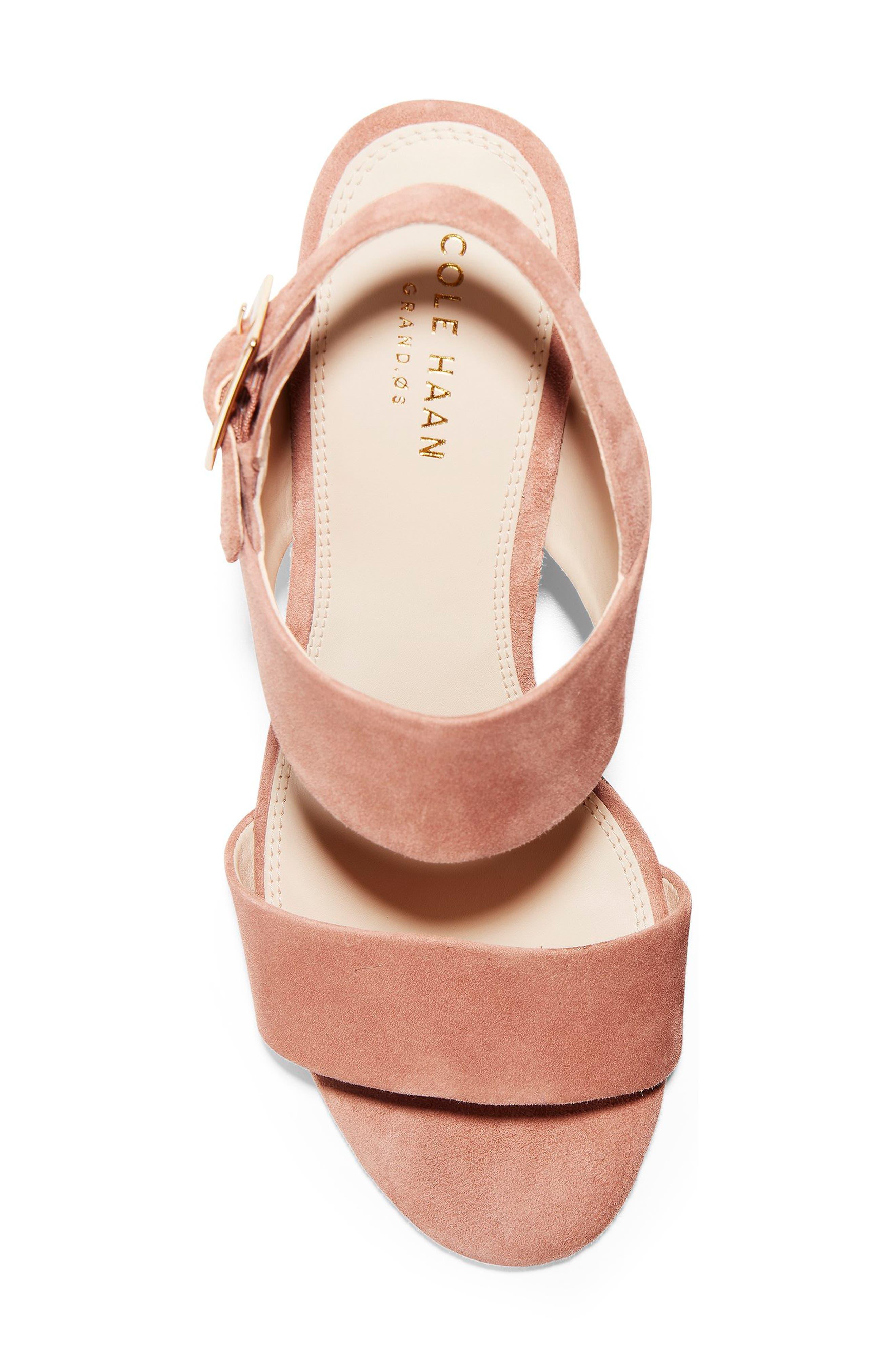 Avani Block Heel Sandal,                             Alternate thumbnail 5, color,                             MOCHA MOUSSE SUEDE