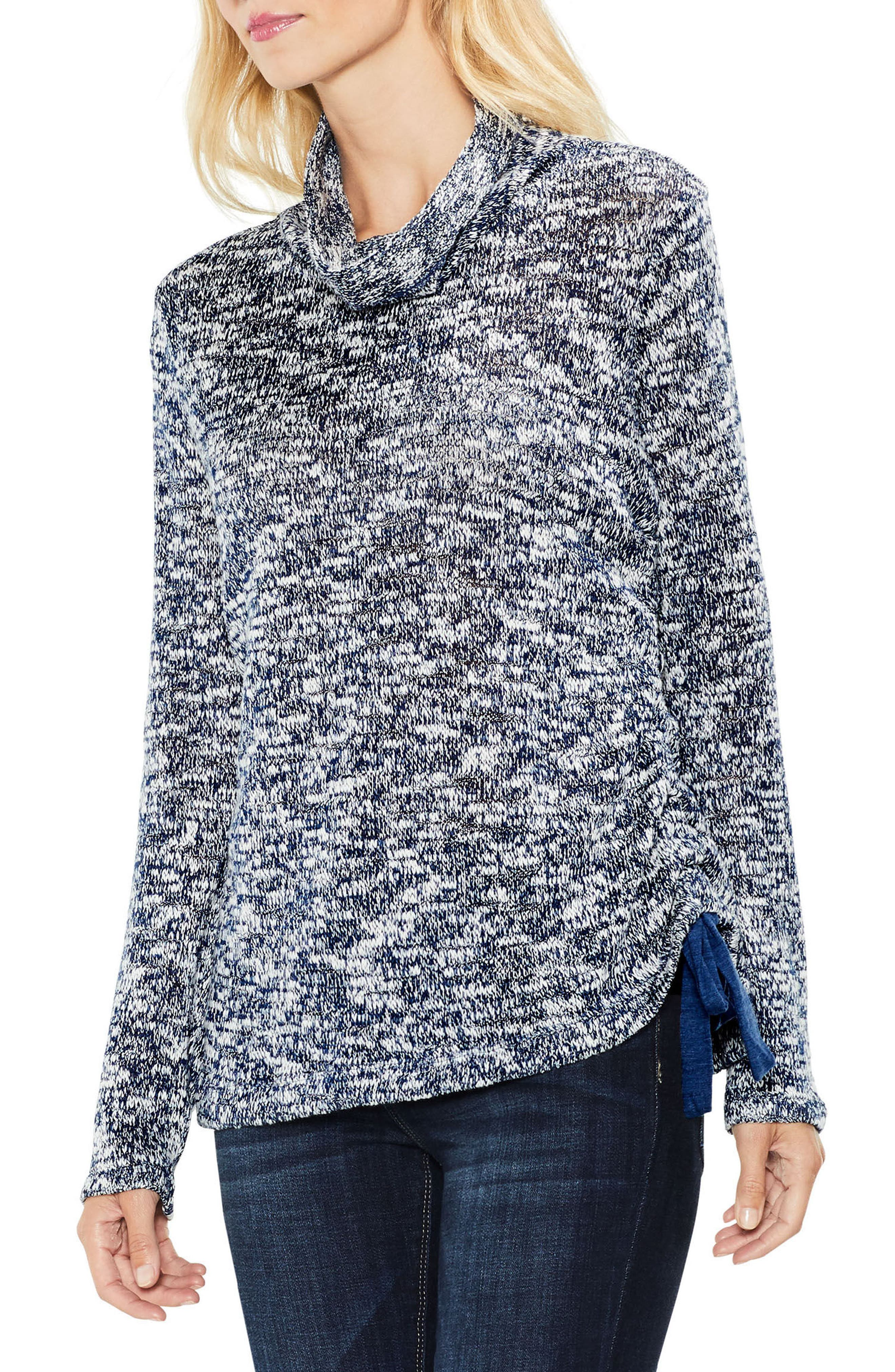Two by Vince Camuto Funnel Neck Pullover,                             Main thumbnail 1, color,                             INDIGO HEATHER
