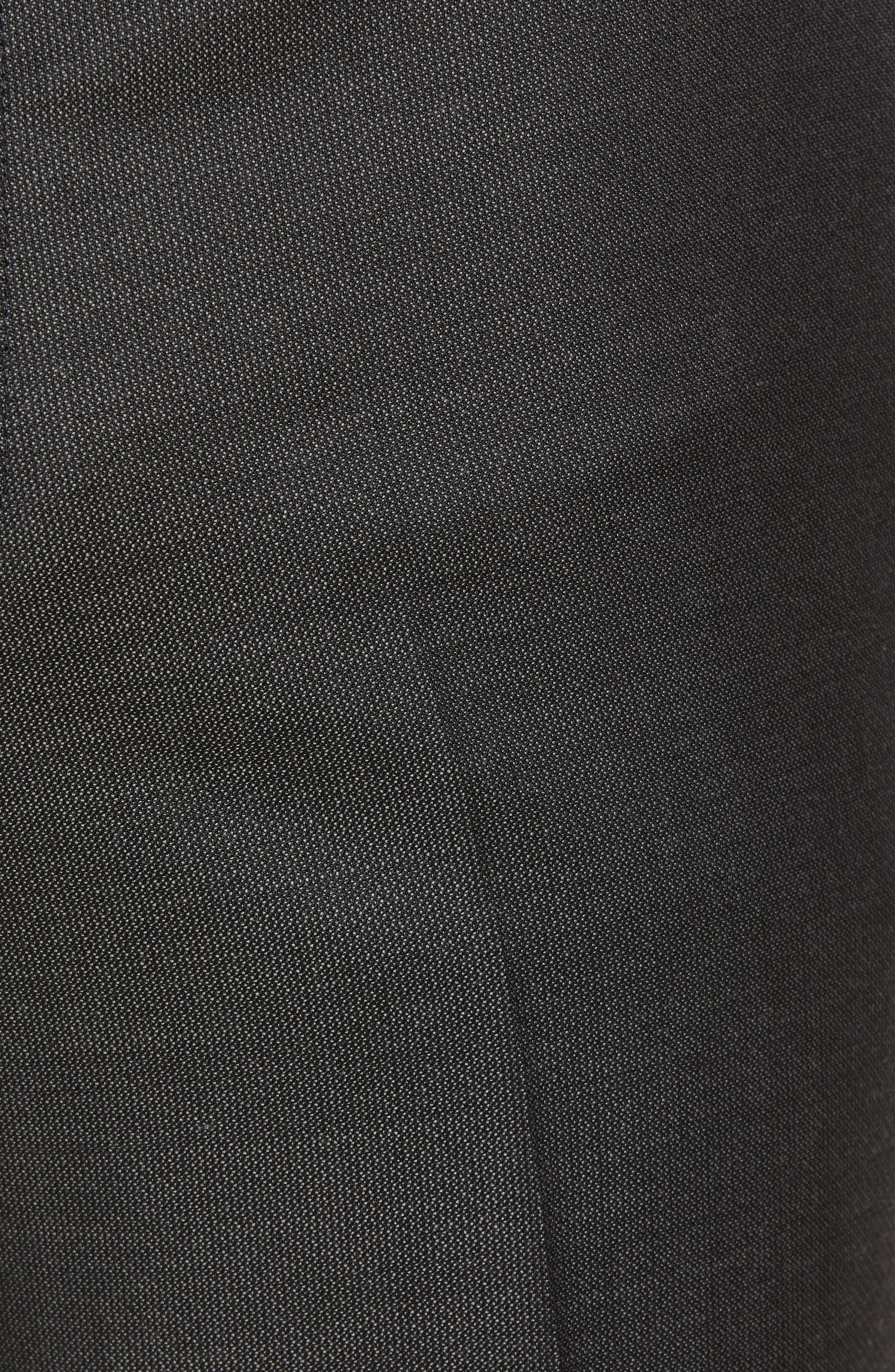 Torino Traditional Fit Flat Front Solid Wool Trousers,                             Alternate thumbnail 5, color,                             BLACK