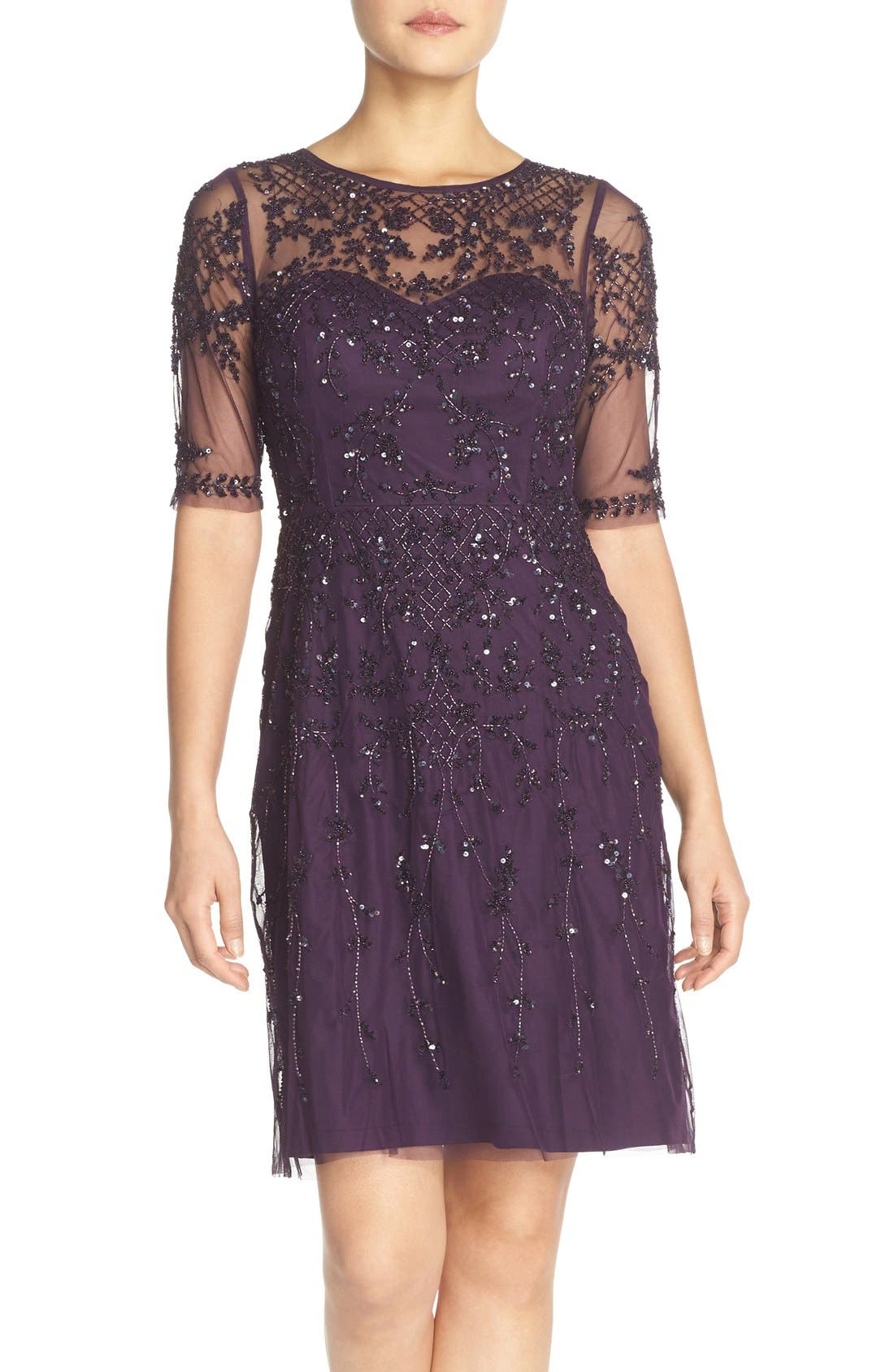 Embellished Fit & Flare Dress,                             Main thumbnail 3, color,