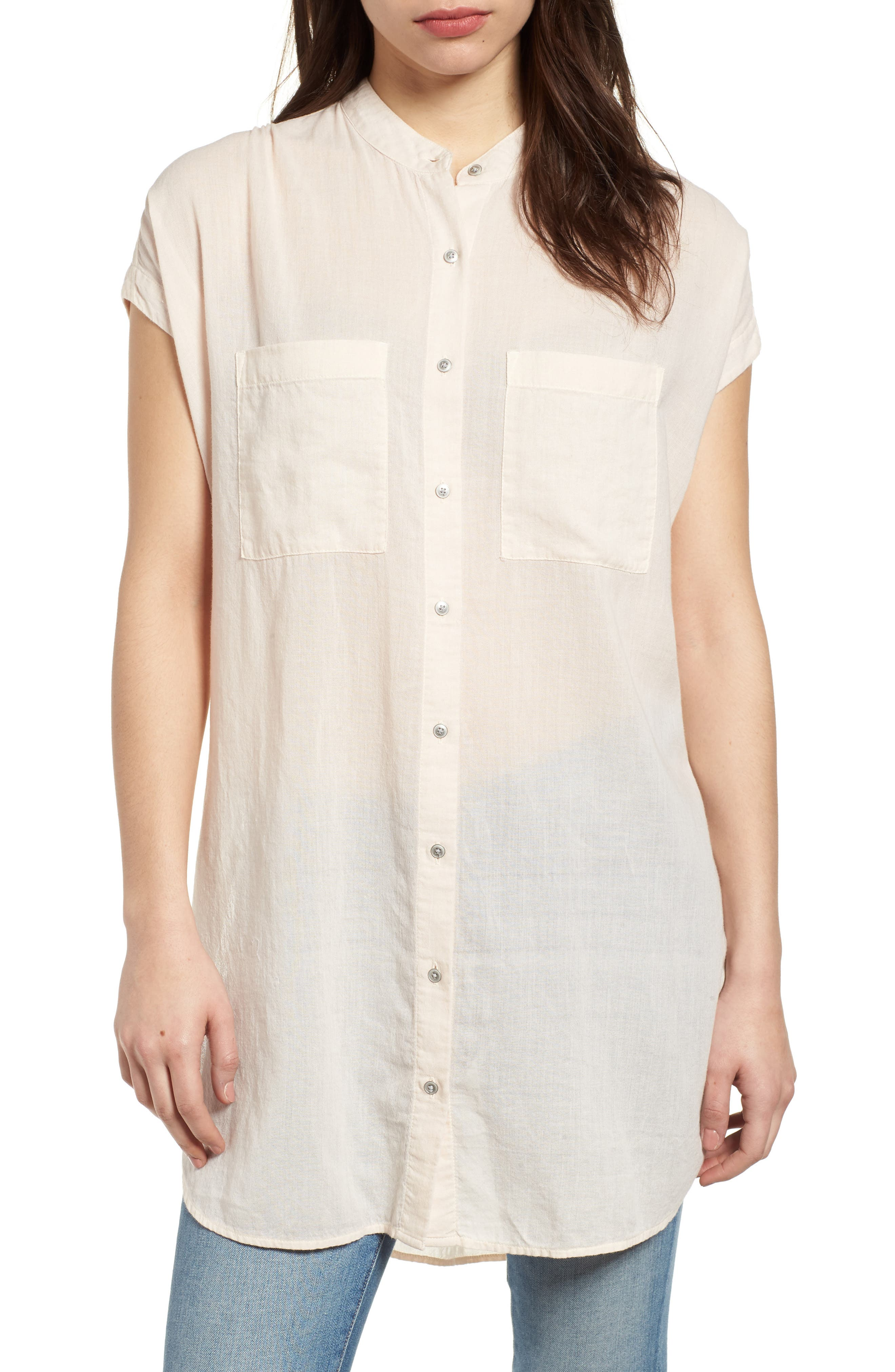 Button Front Longline Top,                             Main thumbnail 3, color,