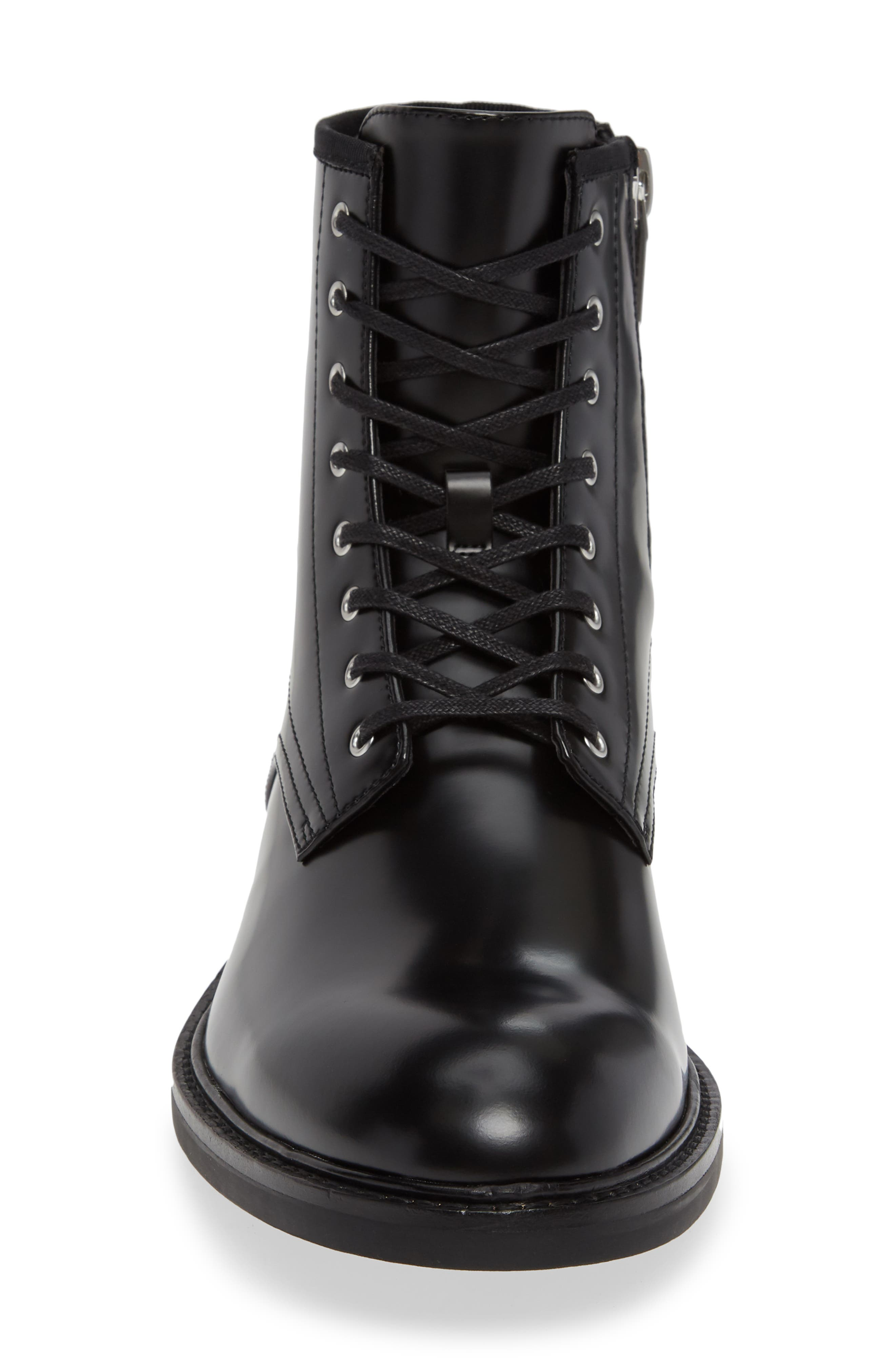 Keeler Combat Boot,                             Alternate thumbnail 4, color,                             BLACK LEATHER