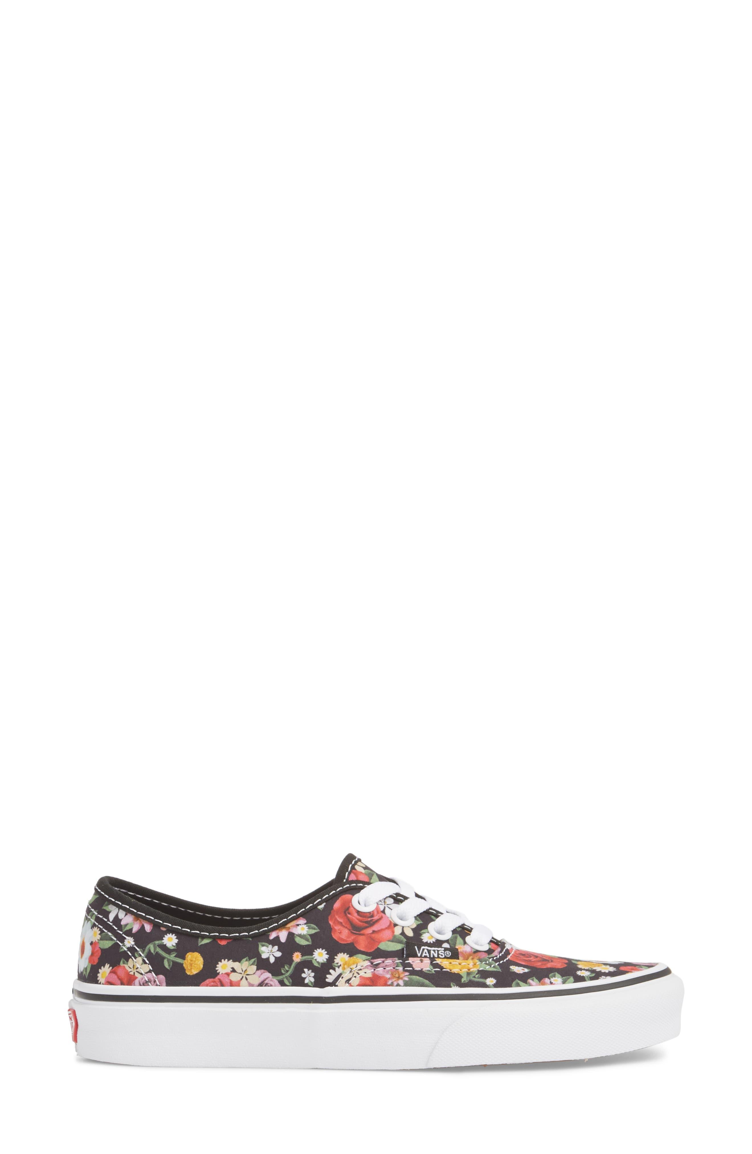UA Authentic Lux Floral Sneaker,                             Alternate thumbnail 3, color,                             DIGI FLORAL/ BLACK