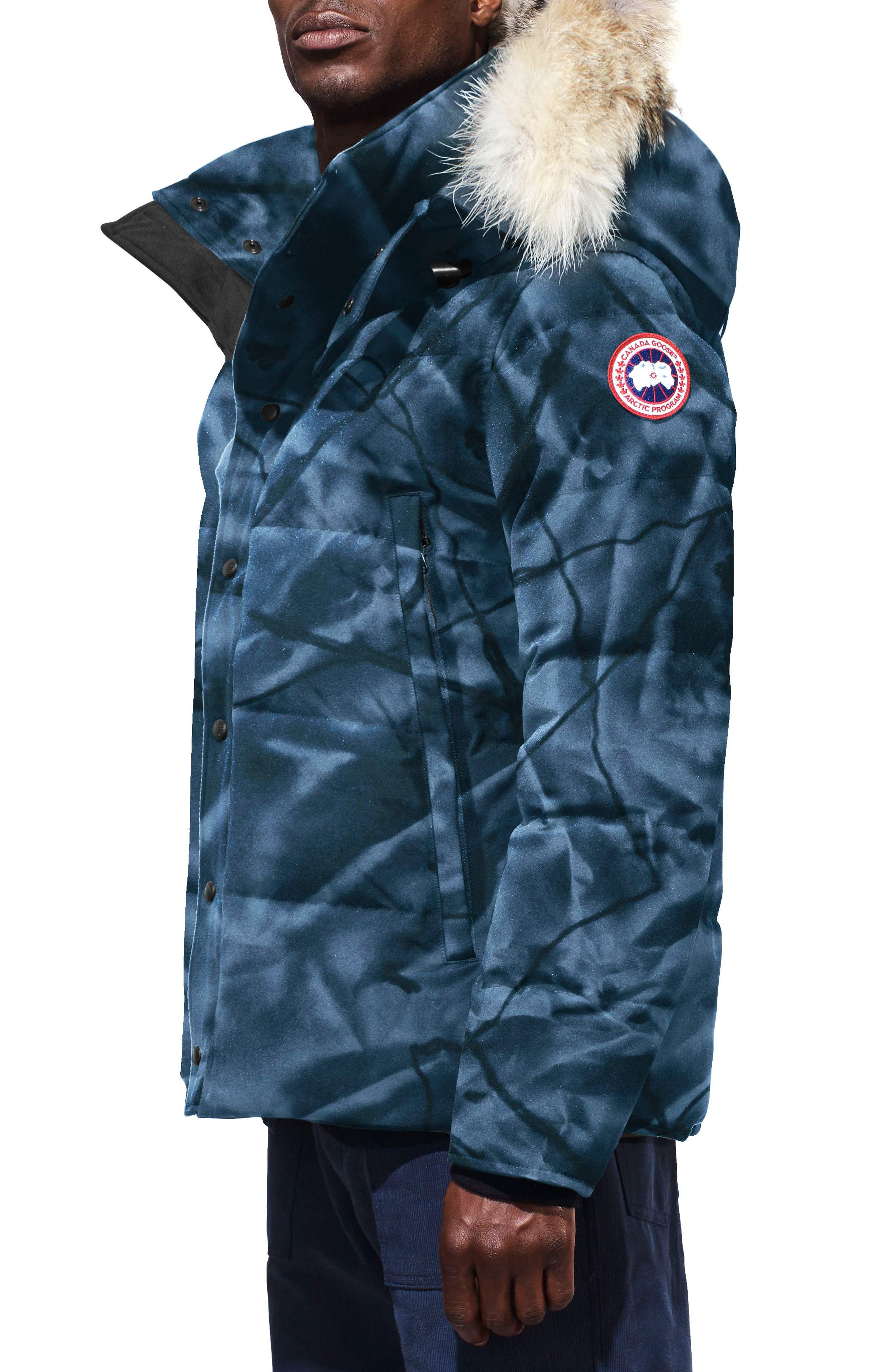 Wyndham Slim Fit Genuine Coyote Fur Trim Down Jacket,                             Alternate thumbnail 3, color,                             BLUE ABSTRACT CAMO