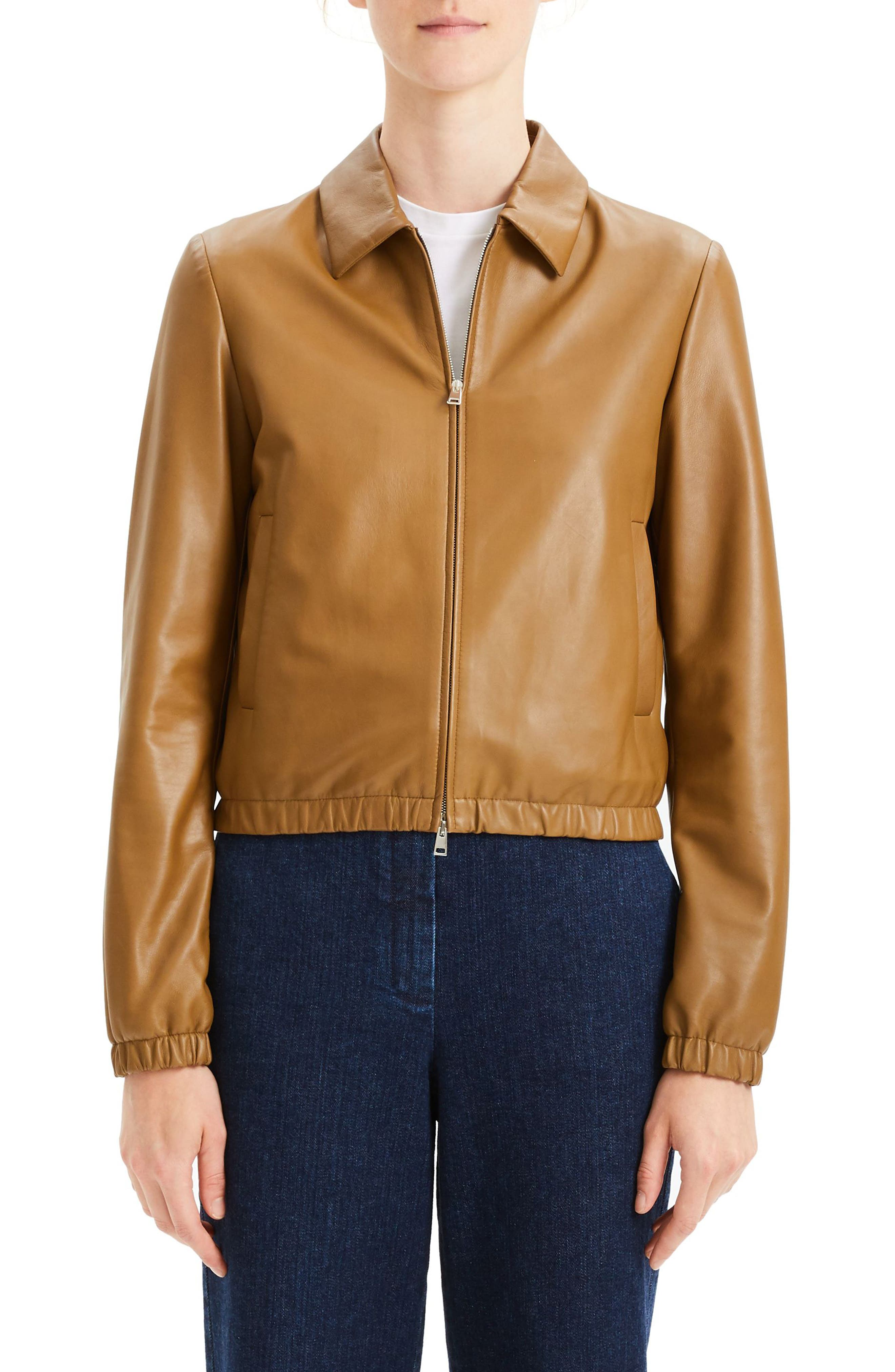 Leather Bomber Jacket,                         Main,                         color, BROWN MOSS
