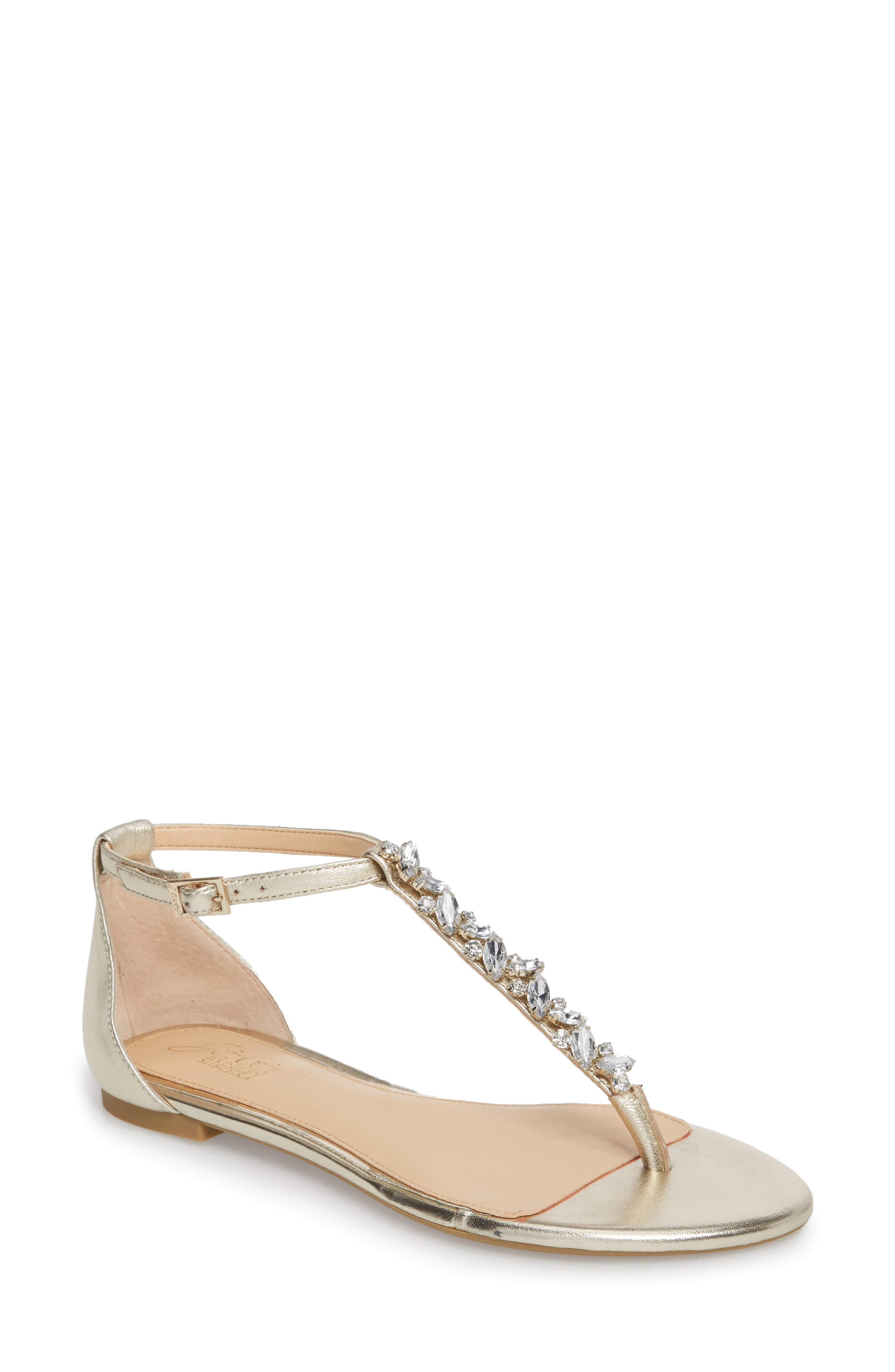 Carrol Embellished T-Strap Sandal,                             Main thumbnail 1, color,                             GOLD METALLIC LEATHER