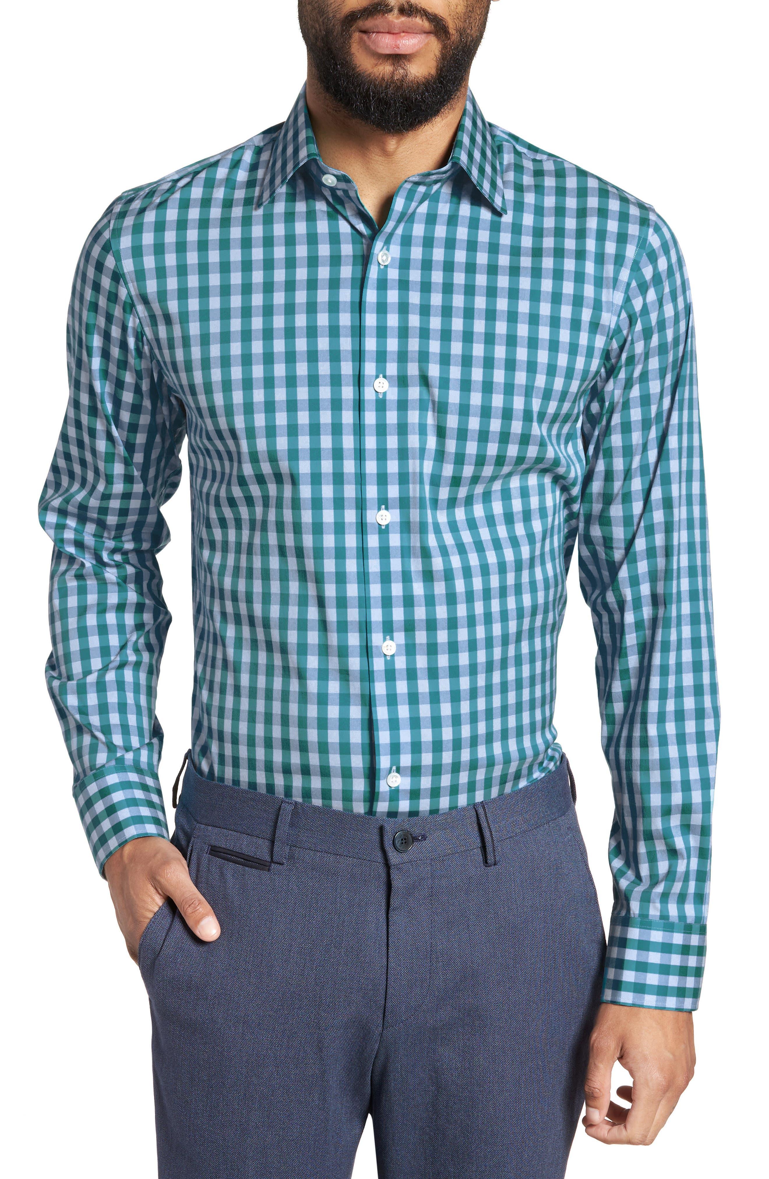 Port Grand Slim Fit Stretch Check Dress Shirt,                         Main,                         color, TEAL