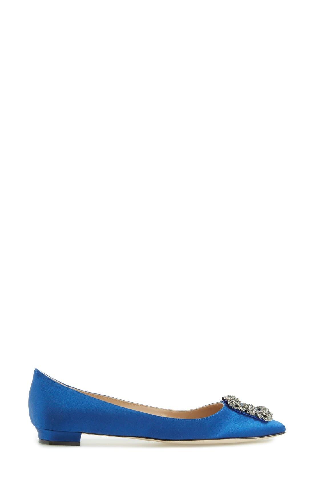 Hangisi Flat,                             Alternate thumbnail 4, color,                             BLUE SATIN