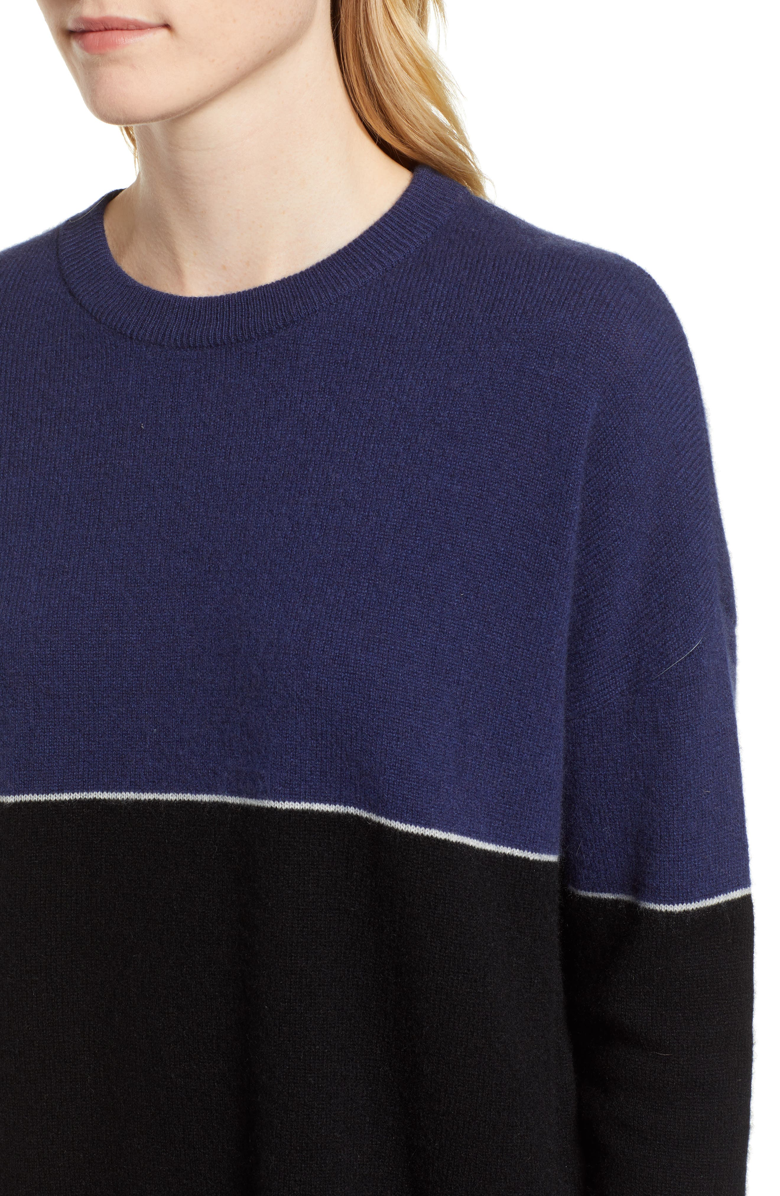Cashmere Colorblock Sweater,                             Alternate thumbnail 4, color,                             001