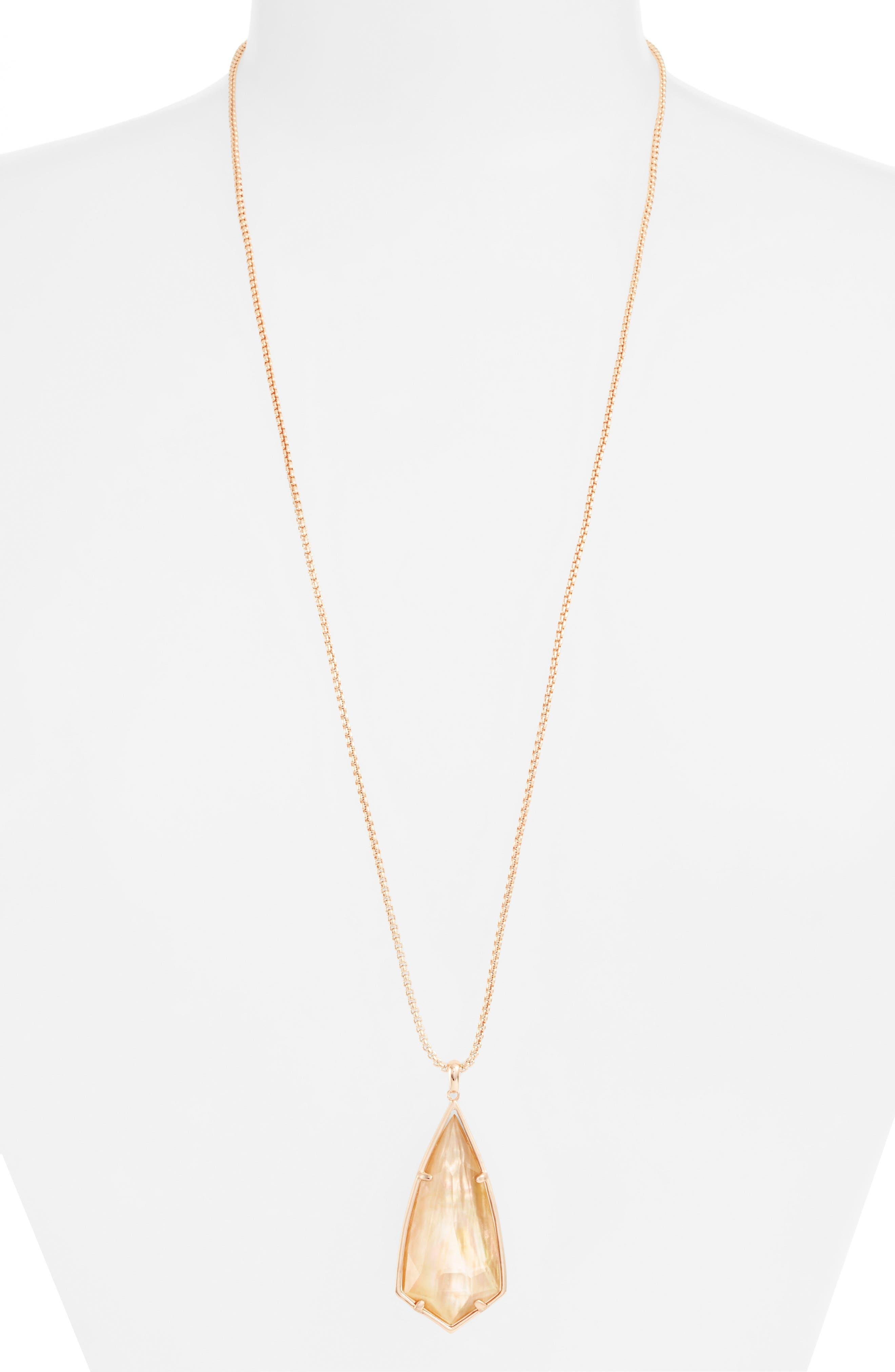 'Carole' Long Semiprecious Stone Pendant Necklace,                             Main thumbnail 10, color,