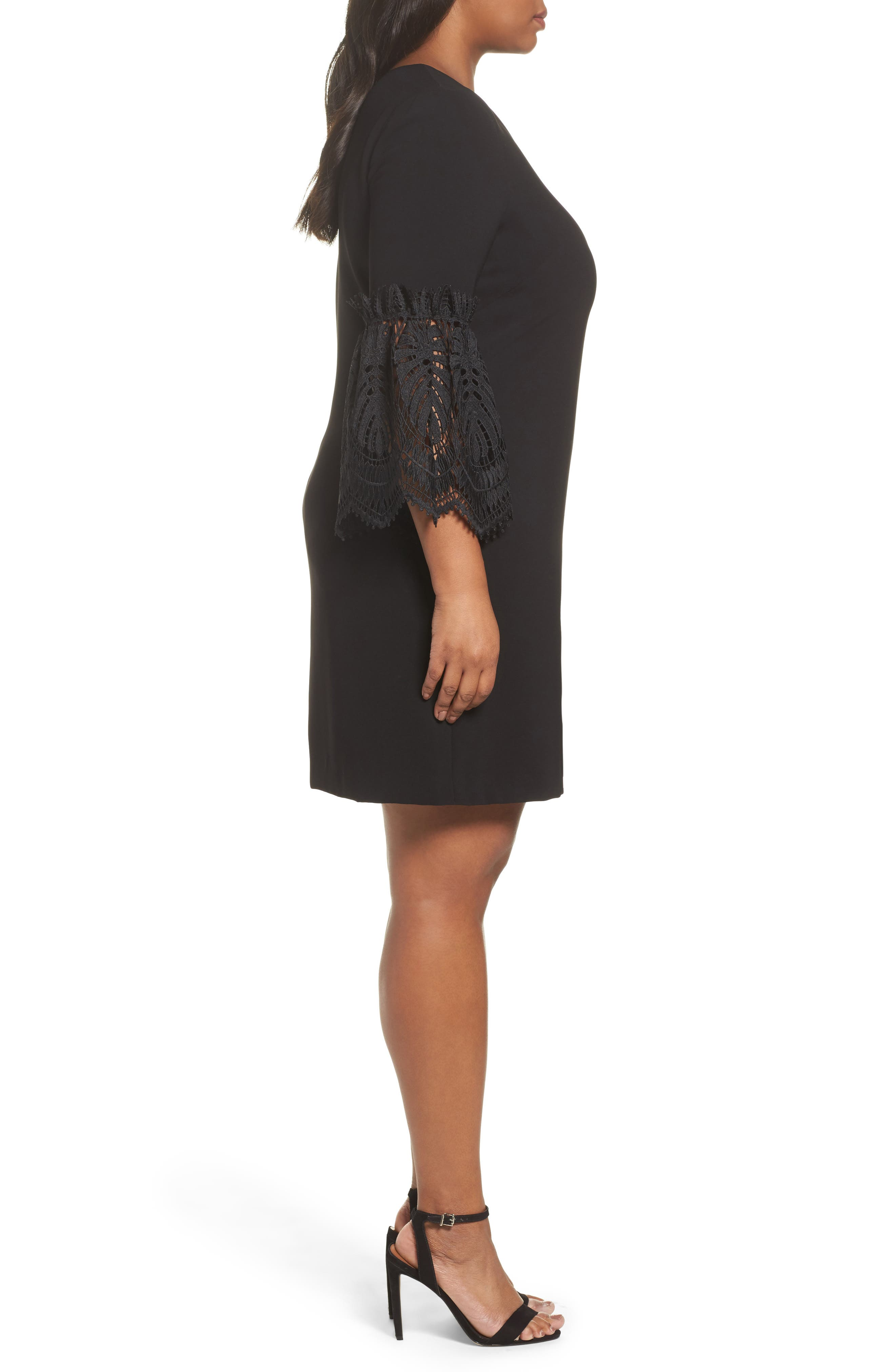 Lace Bell Sleeve Shift Dress,                             Alternate thumbnail 3, color,                             001