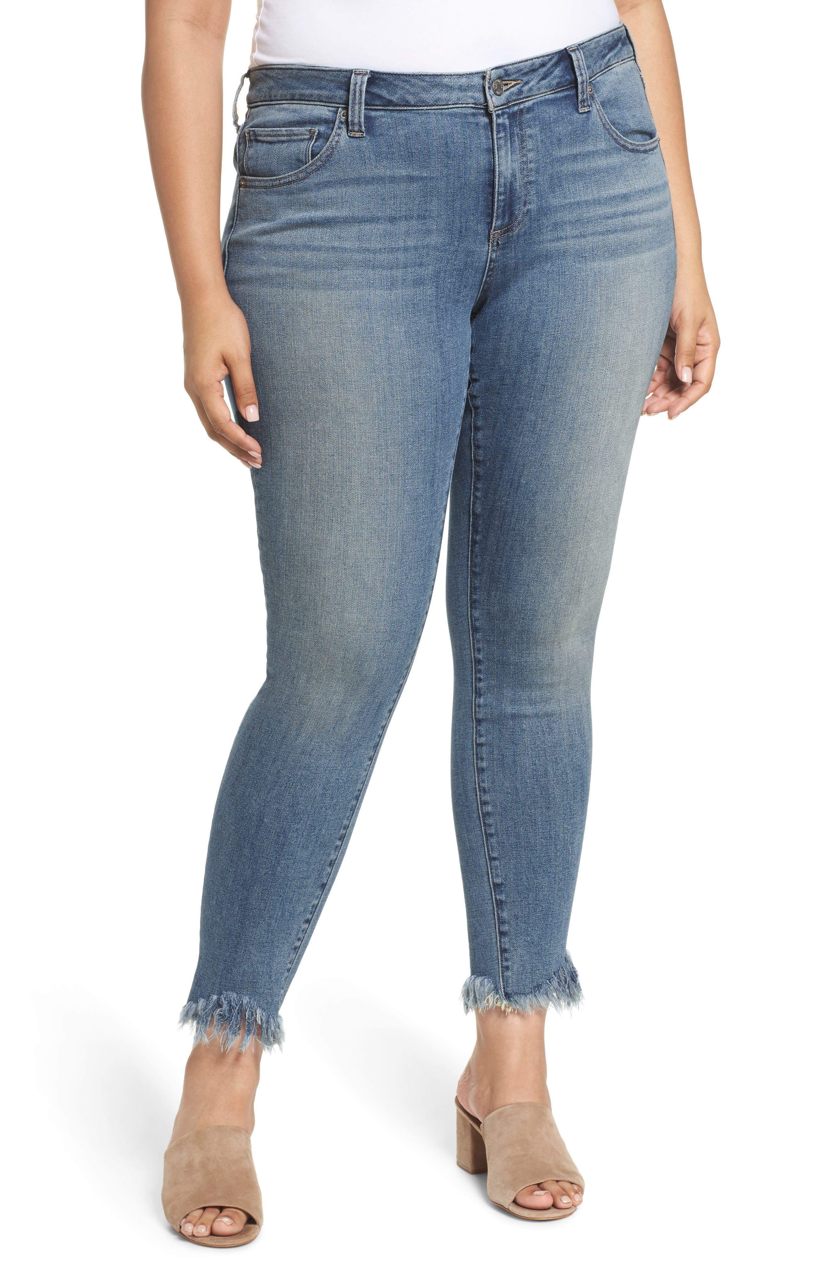 LUCKY BRAND,                             Ginger Fringed Hem Skinny Jeans,                             Main thumbnail 1, color,                             400