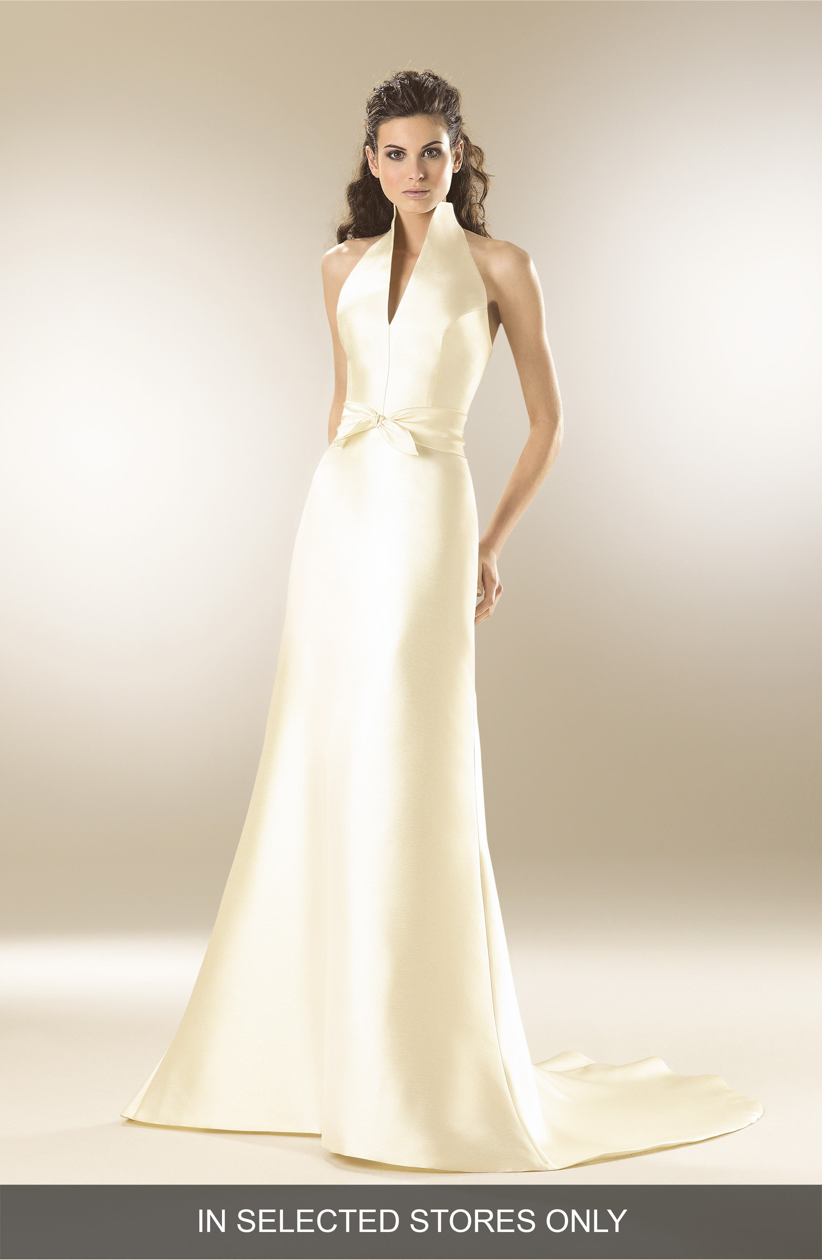 Mikado Satin Halter Fluted Dress,                         Main,                         color, OFF WHITE