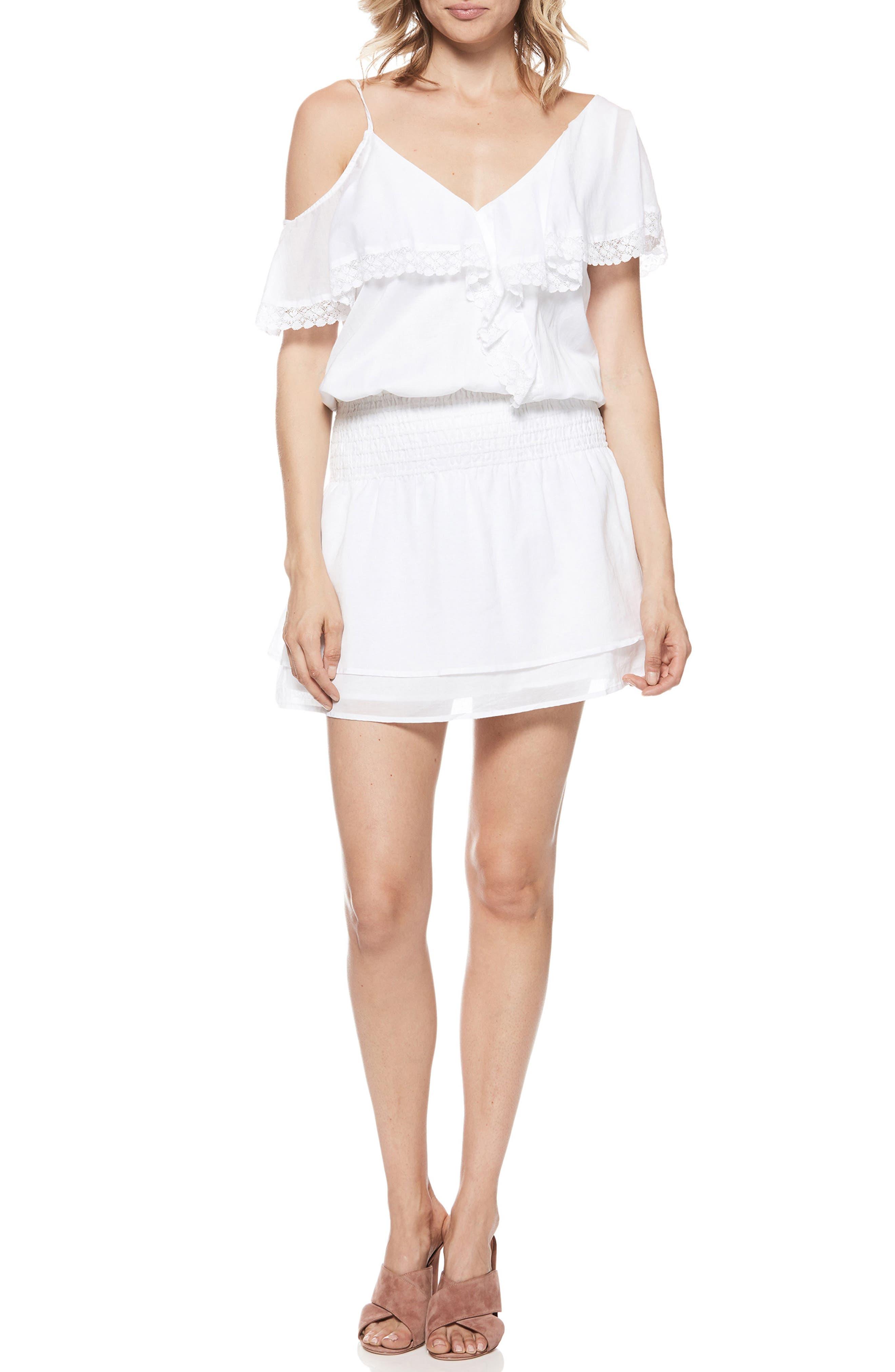 Cecelia Cold Shoulder Minidress,                         Main,                         color, 100
