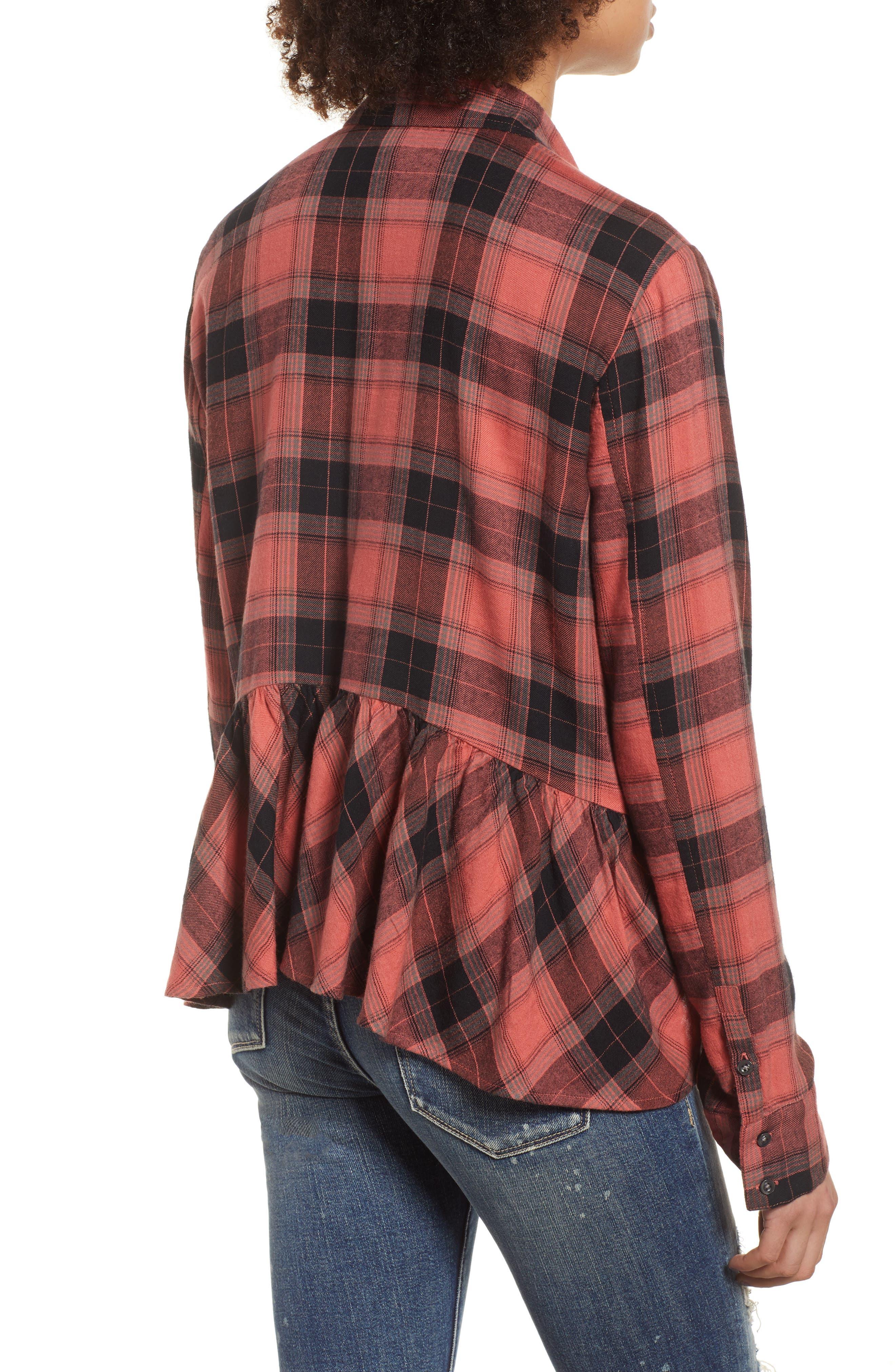 Plaid Peplum Shirt,                             Alternate thumbnail 2, color,                             PINK CEDAR SKETCHY PLAID