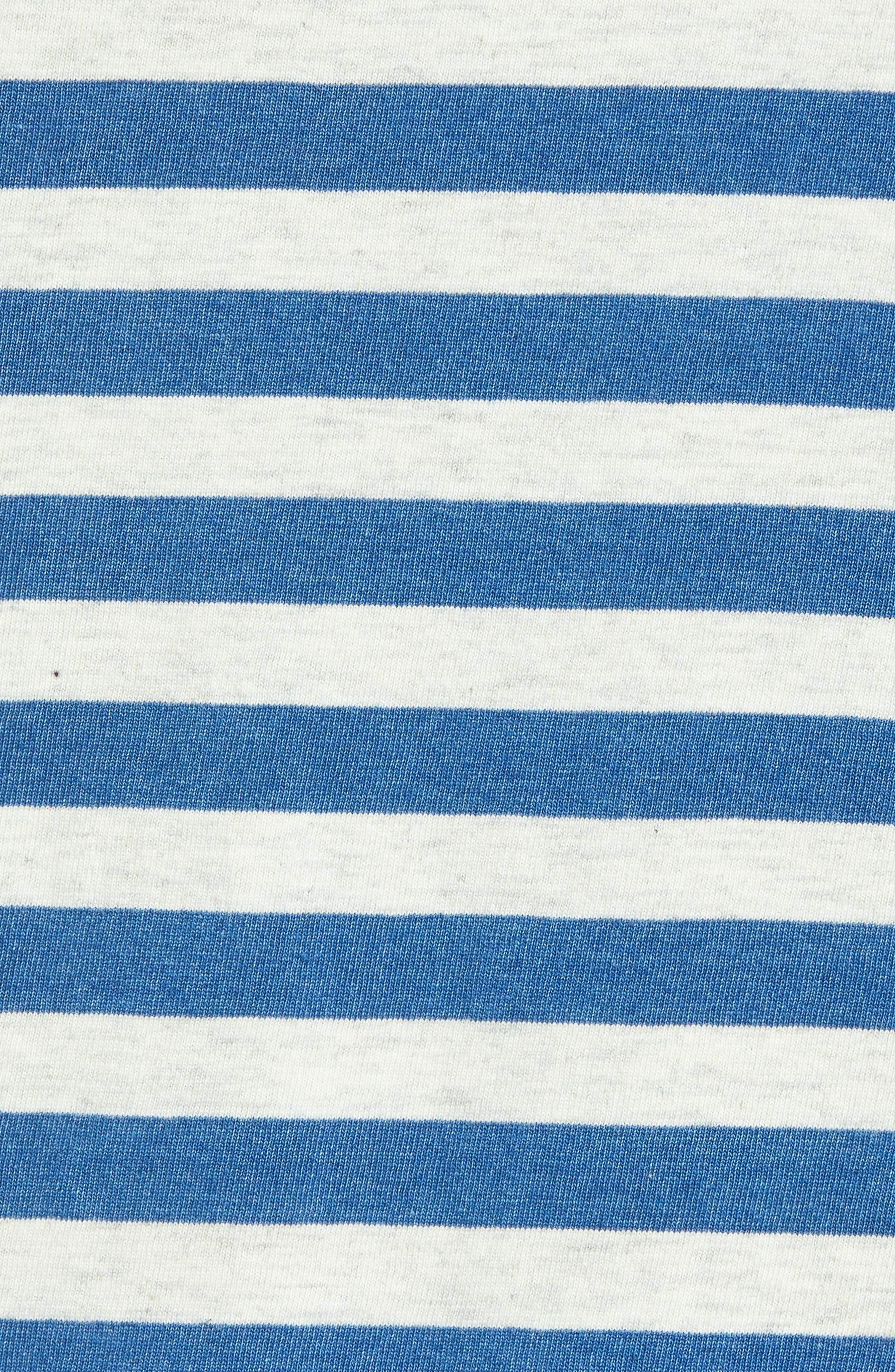 Sunset Stripe Pocket T-Shirt,                             Alternate thumbnail 5, color,                             CREAM HALF INCH STRIPE