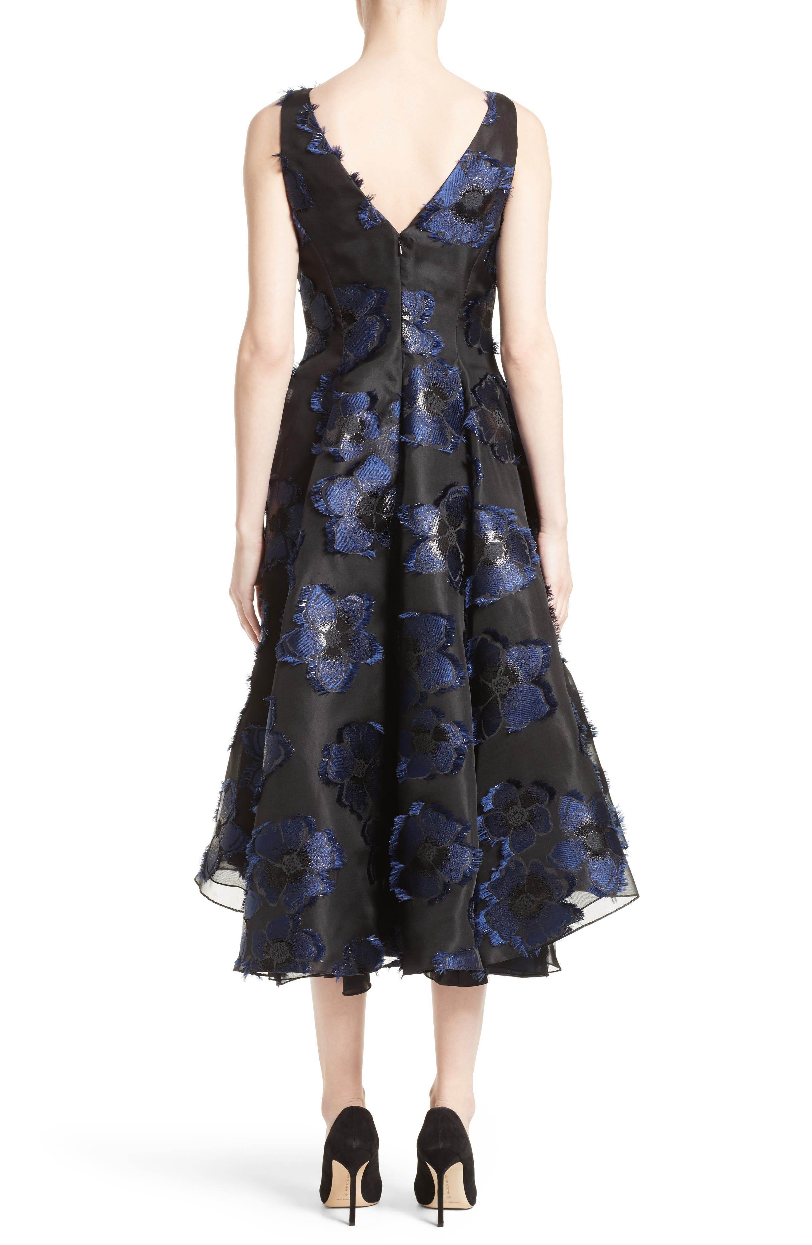 High/Low Metallic Fil Coupé Dress,                             Alternate thumbnail 2, color,                             410