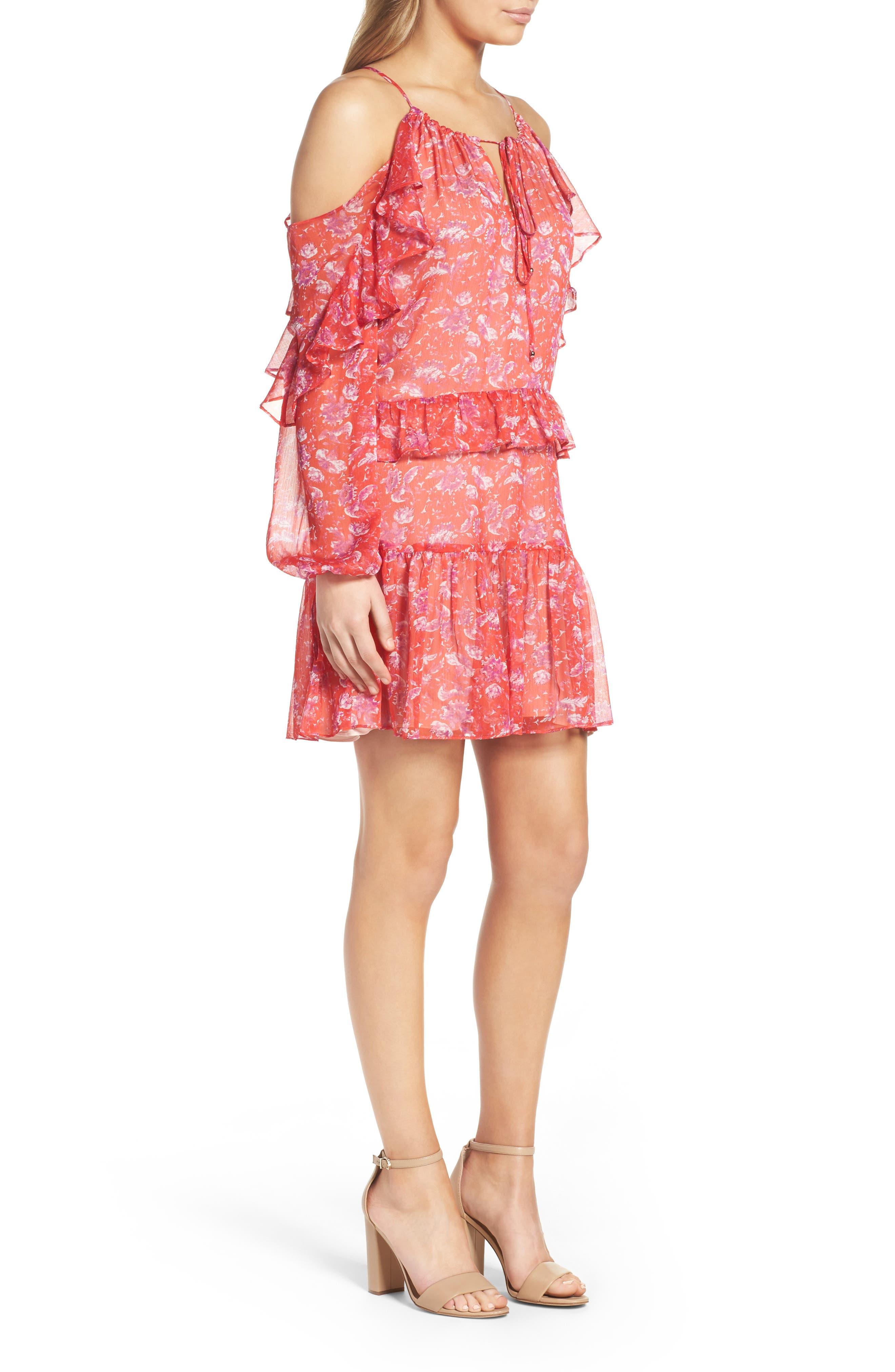 Cold Shoulder Dress,                             Alternate thumbnail 3, color,                             610