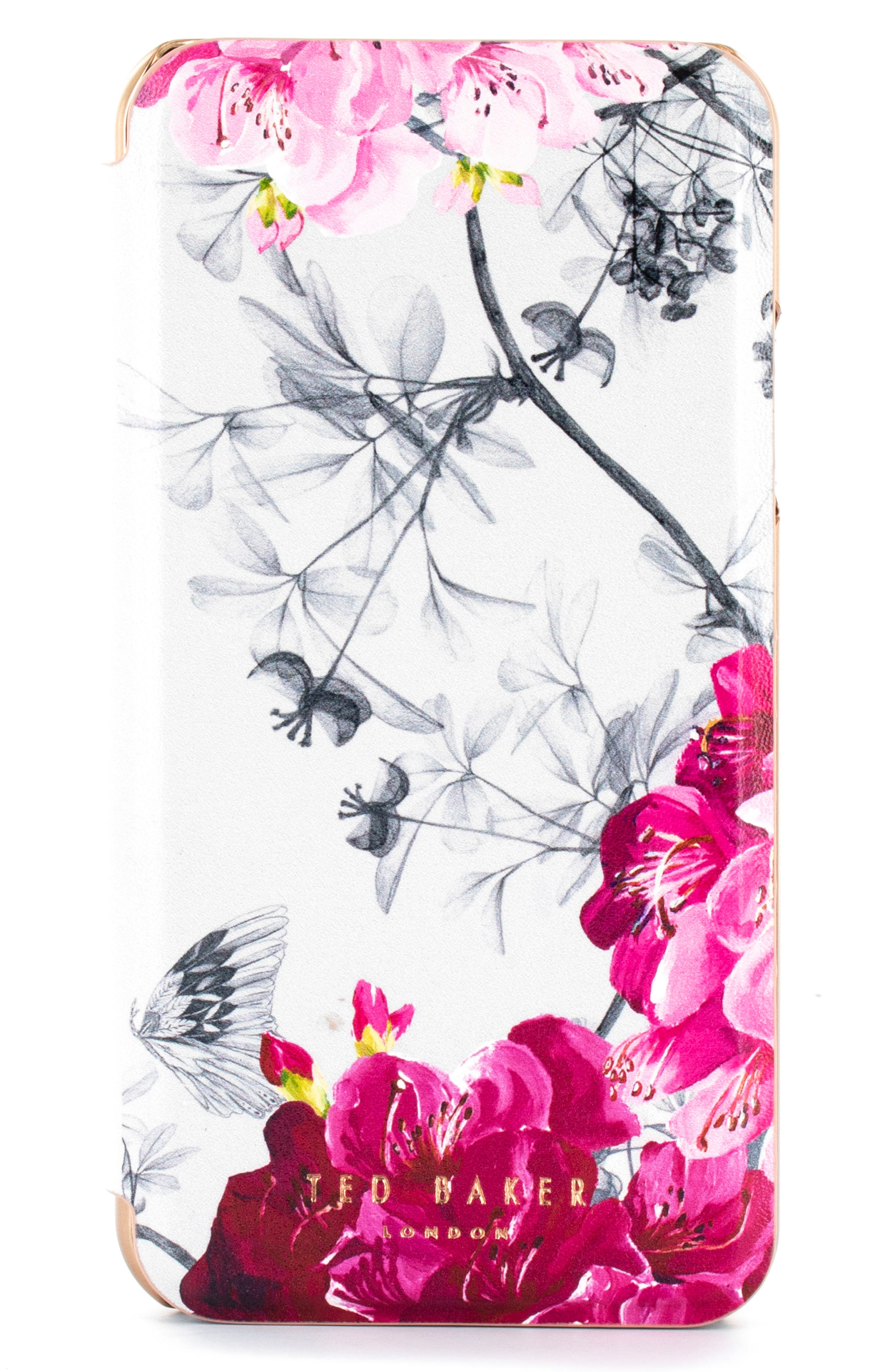 TED BAKER LONDON Babylon iPhone X/Xs/Xs Max & XR Mirror Folio Case, Main, color, GREY