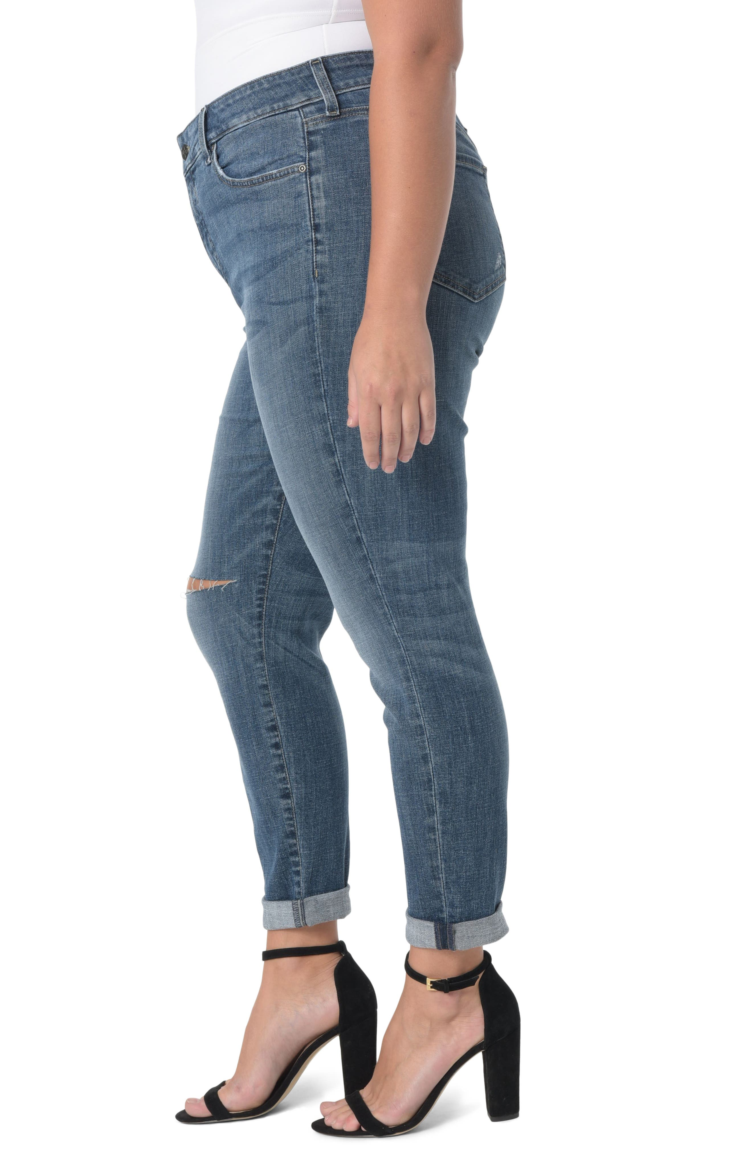 Ripped Skinny Girlfriend Jeans,                             Alternate thumbnail 3, color,                             403