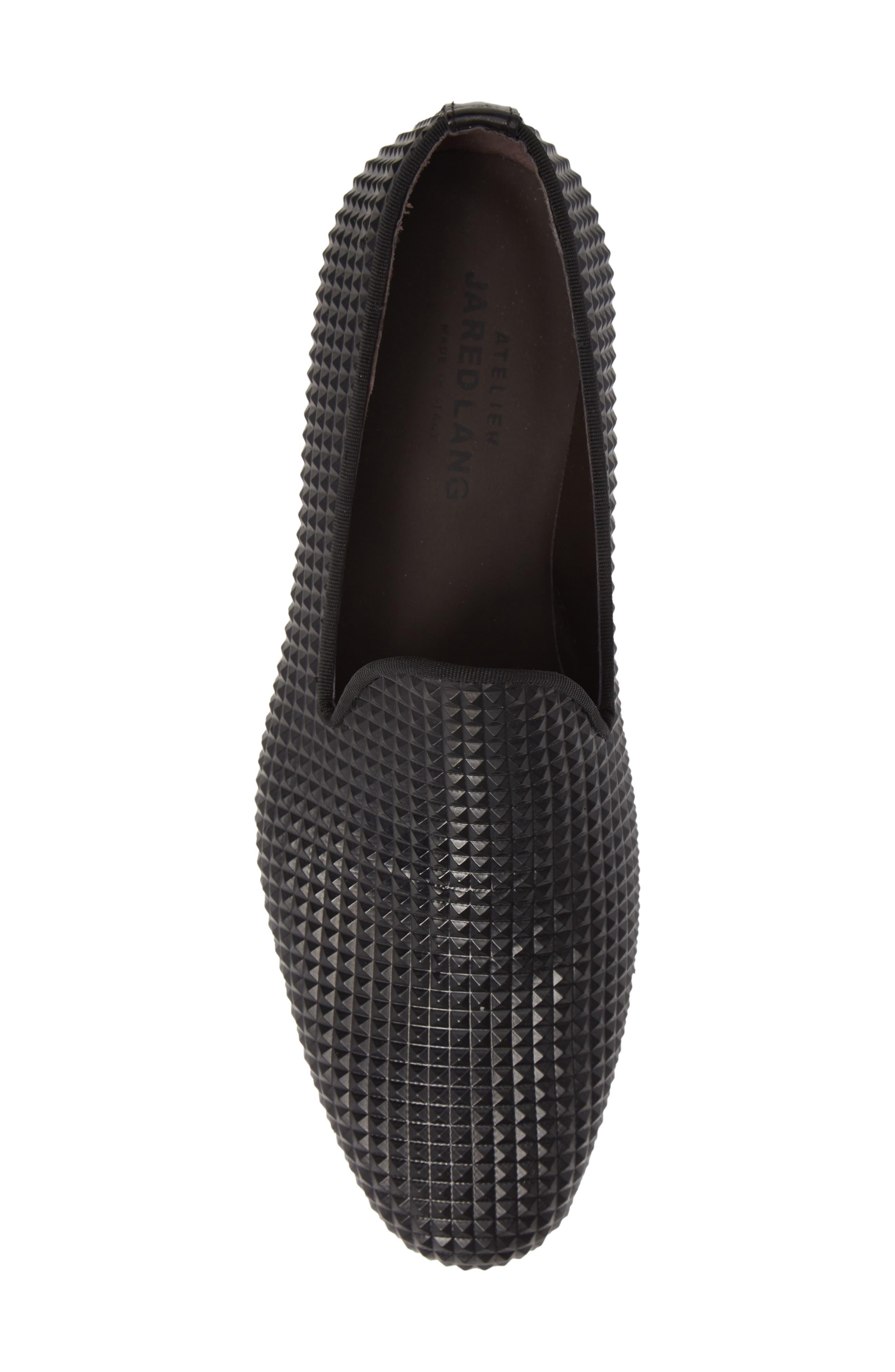Milan Studded Venetian Loafer,                             Alternate thumbnail 5, color,                             BLACK