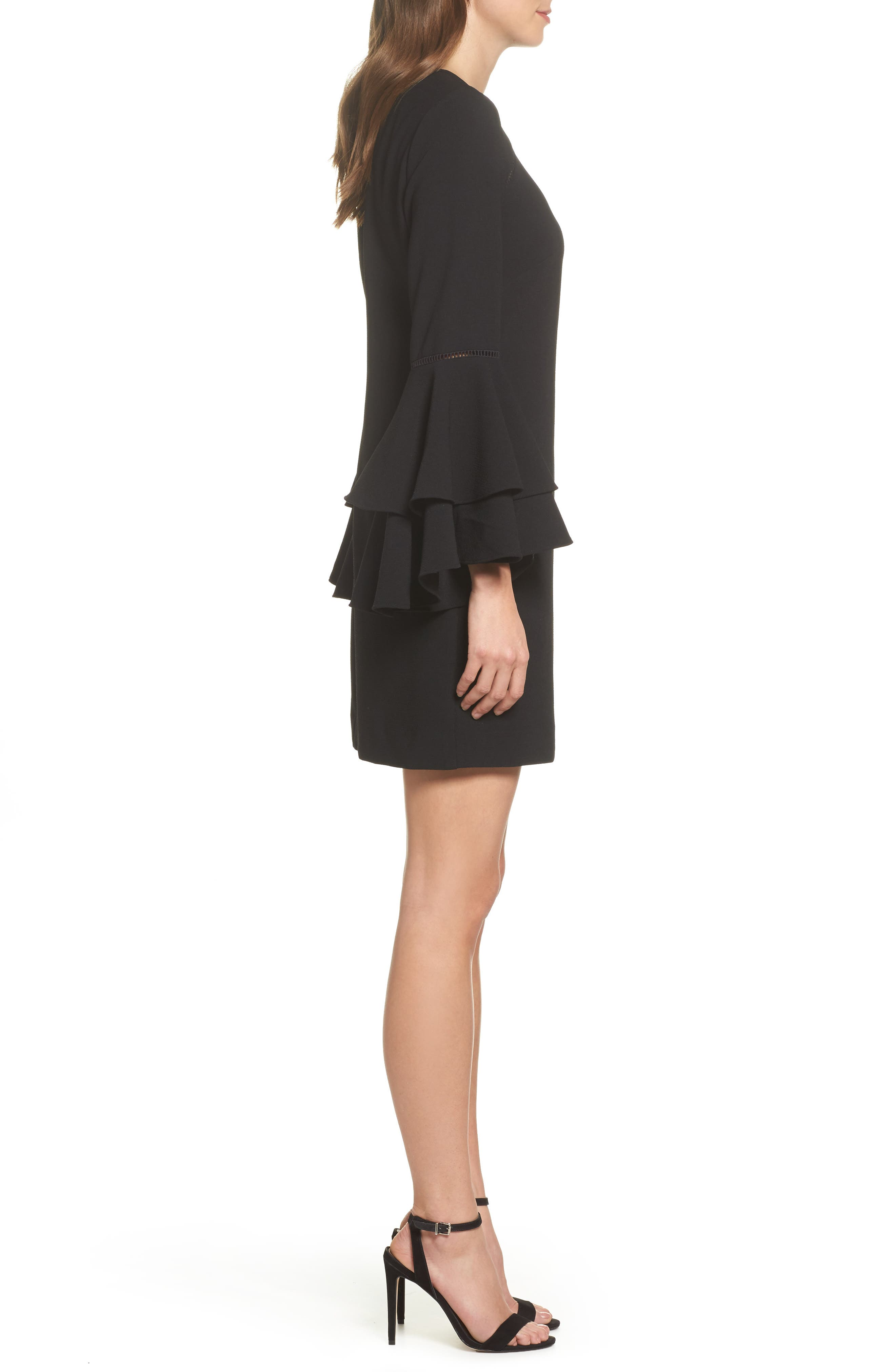 Tiered Bell Sleeve Shift Dress,                             Alternate thumbnail 3, color,                             001