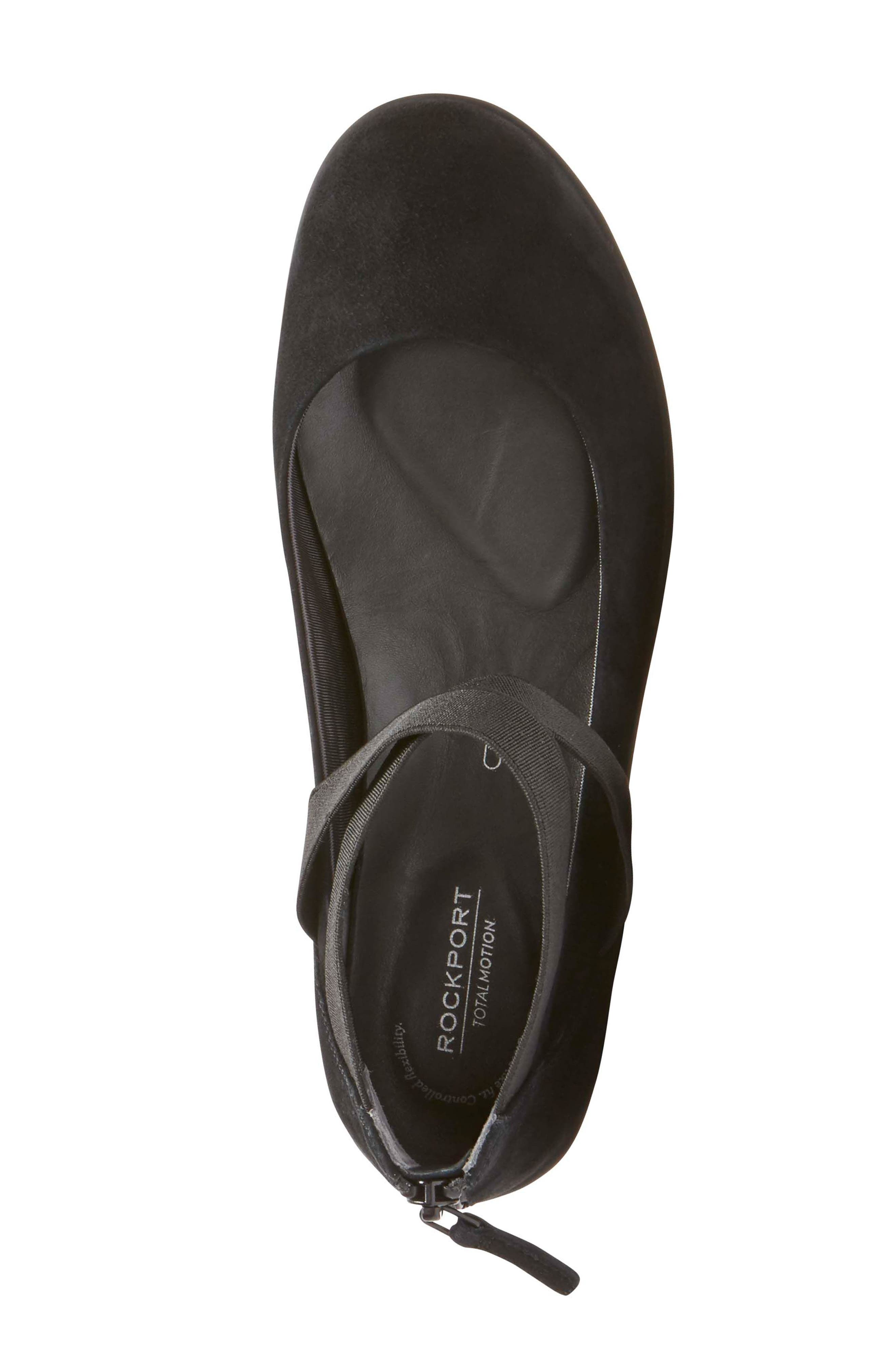 Chenole Cross Strap Flat,                             Alternate thumbnail 5, color,                             BLACK SUEDE