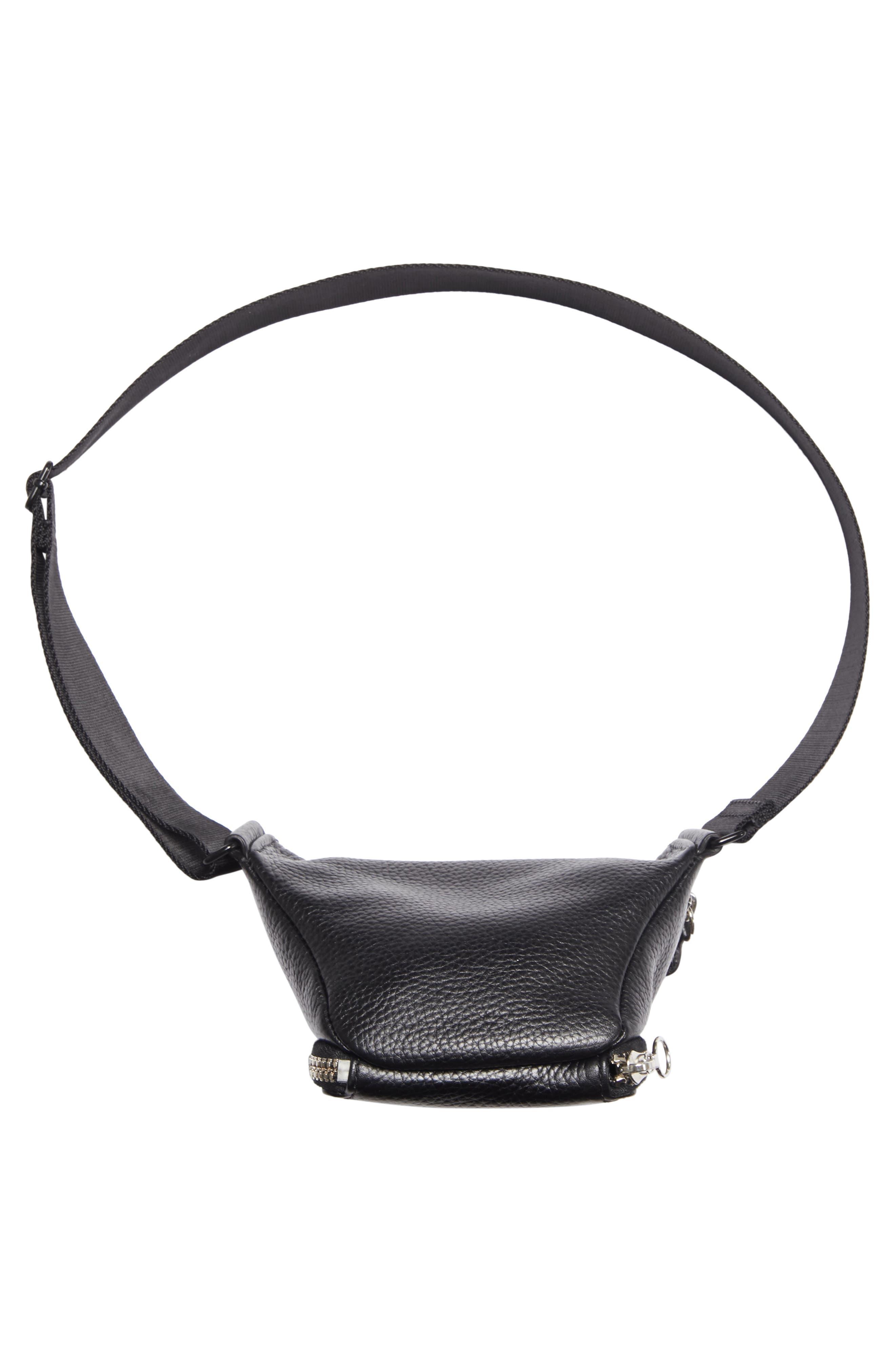 Leather Bum Bag,                             Alternate thumbnail 6, color,                             BLACK