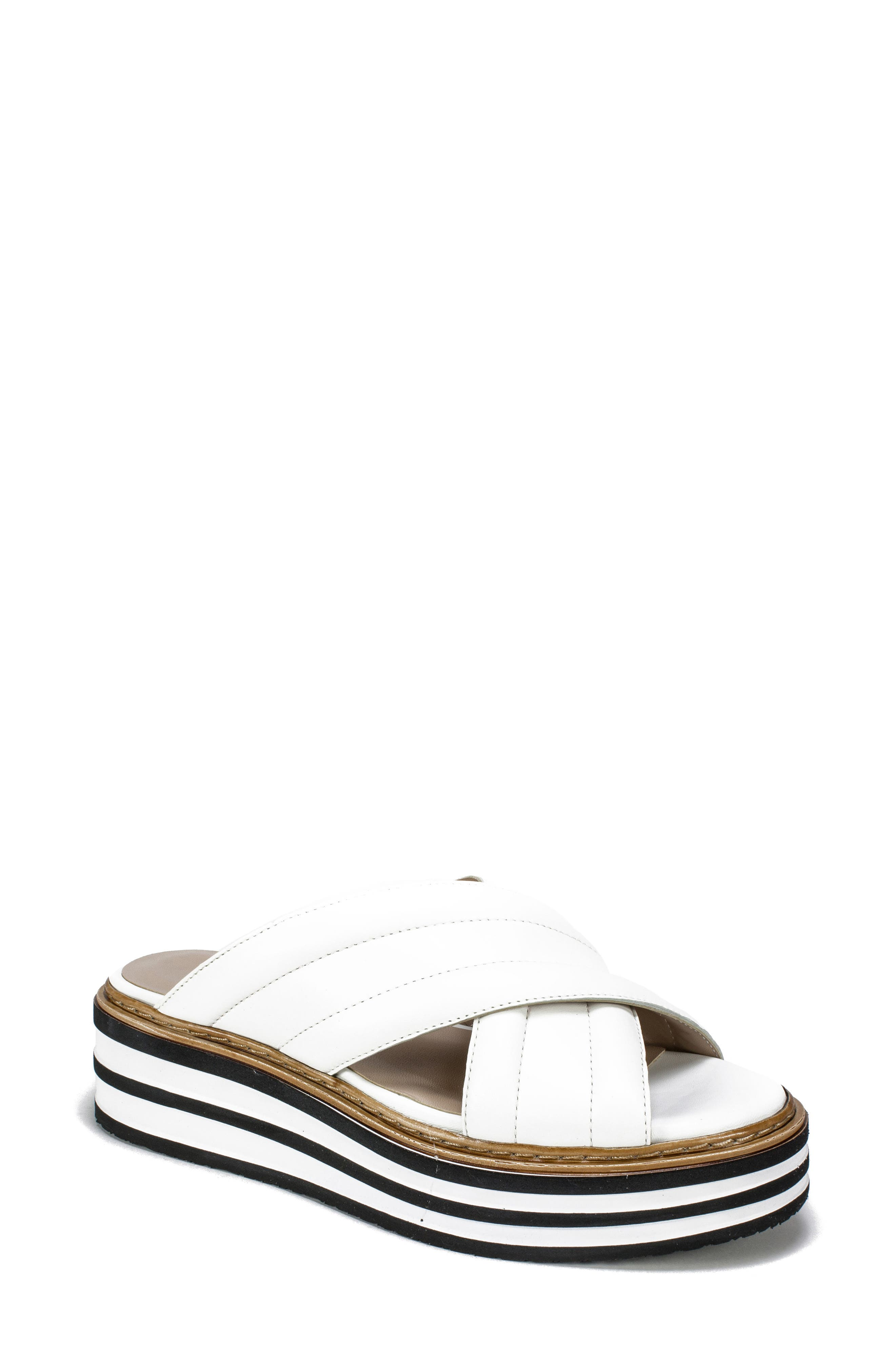 SUMMIT by White Mountain Lowell Platform Slide Sandal, Main, color, WHITE LEATHER