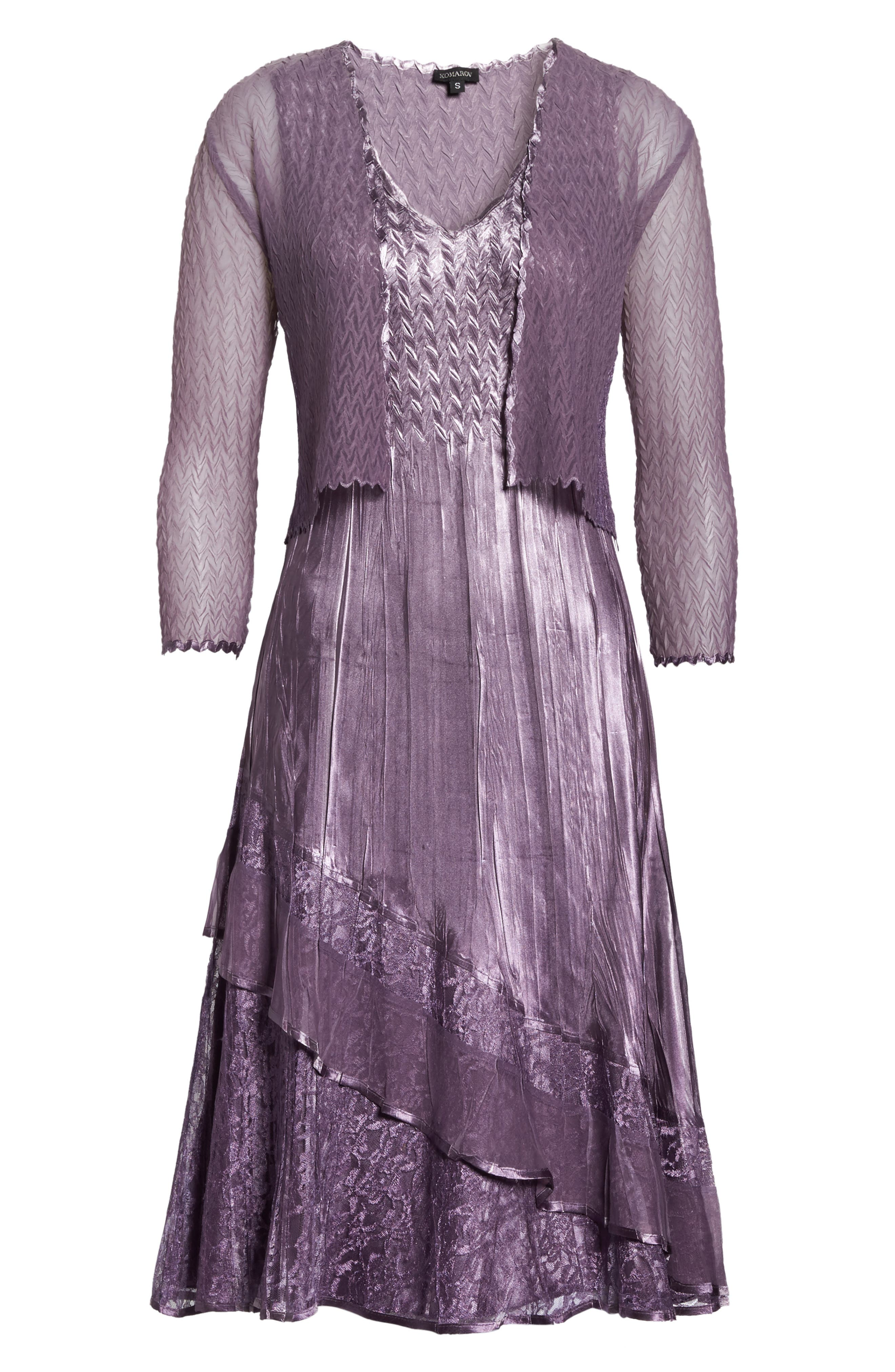 Charmeuse A-Line Dress & Chiffon Jacket,                             Alternate thumbnail 6, color,                             508