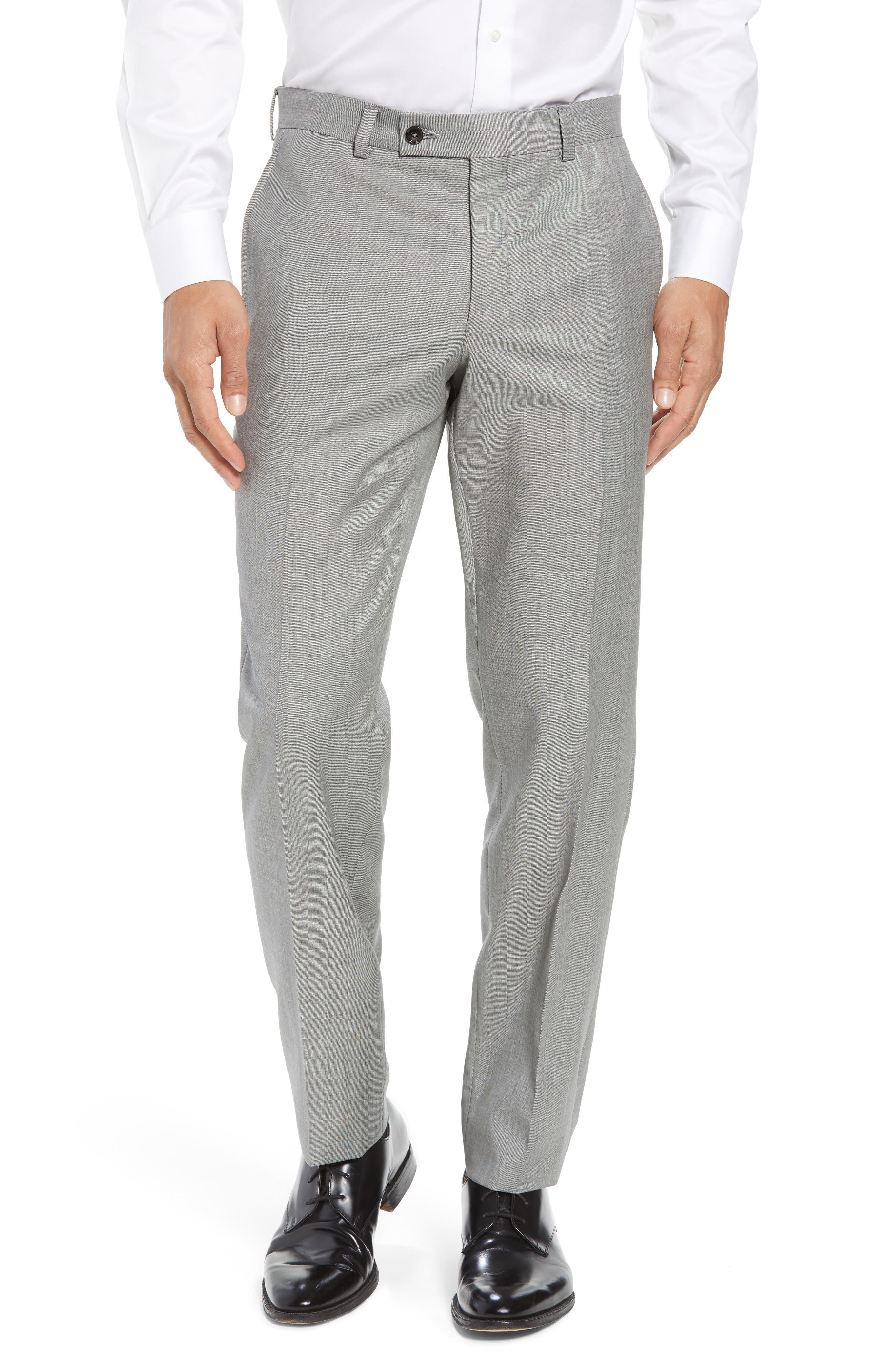 Jefferson Flat Front Wool Trousers,                             Alternate thumbnail 8, color,
