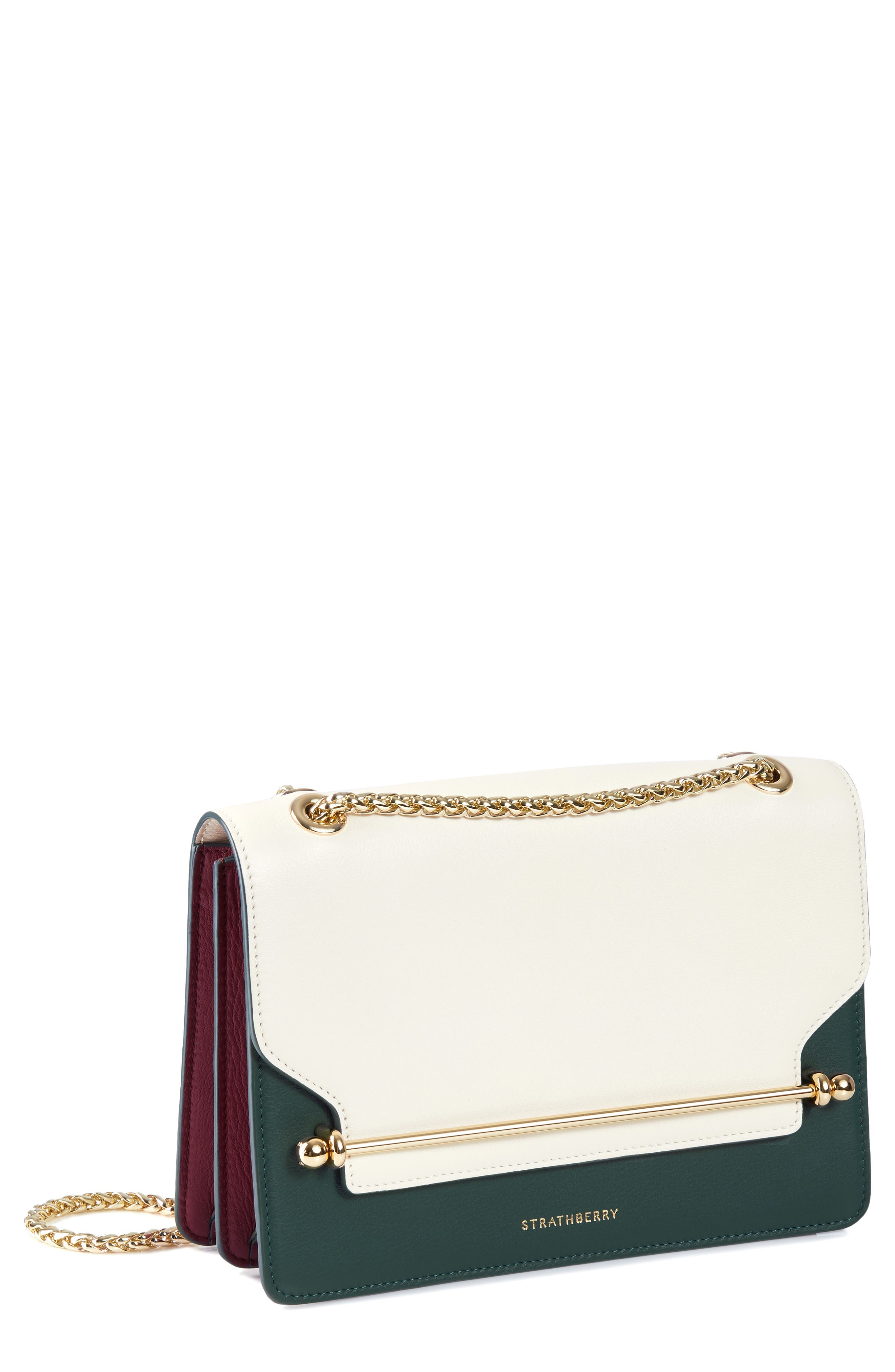 STRATHBERRY East/West Colorblock Leather Crossbody Bag, Main, color, VANILLA/ BOTTLE GREEN/ EMBER