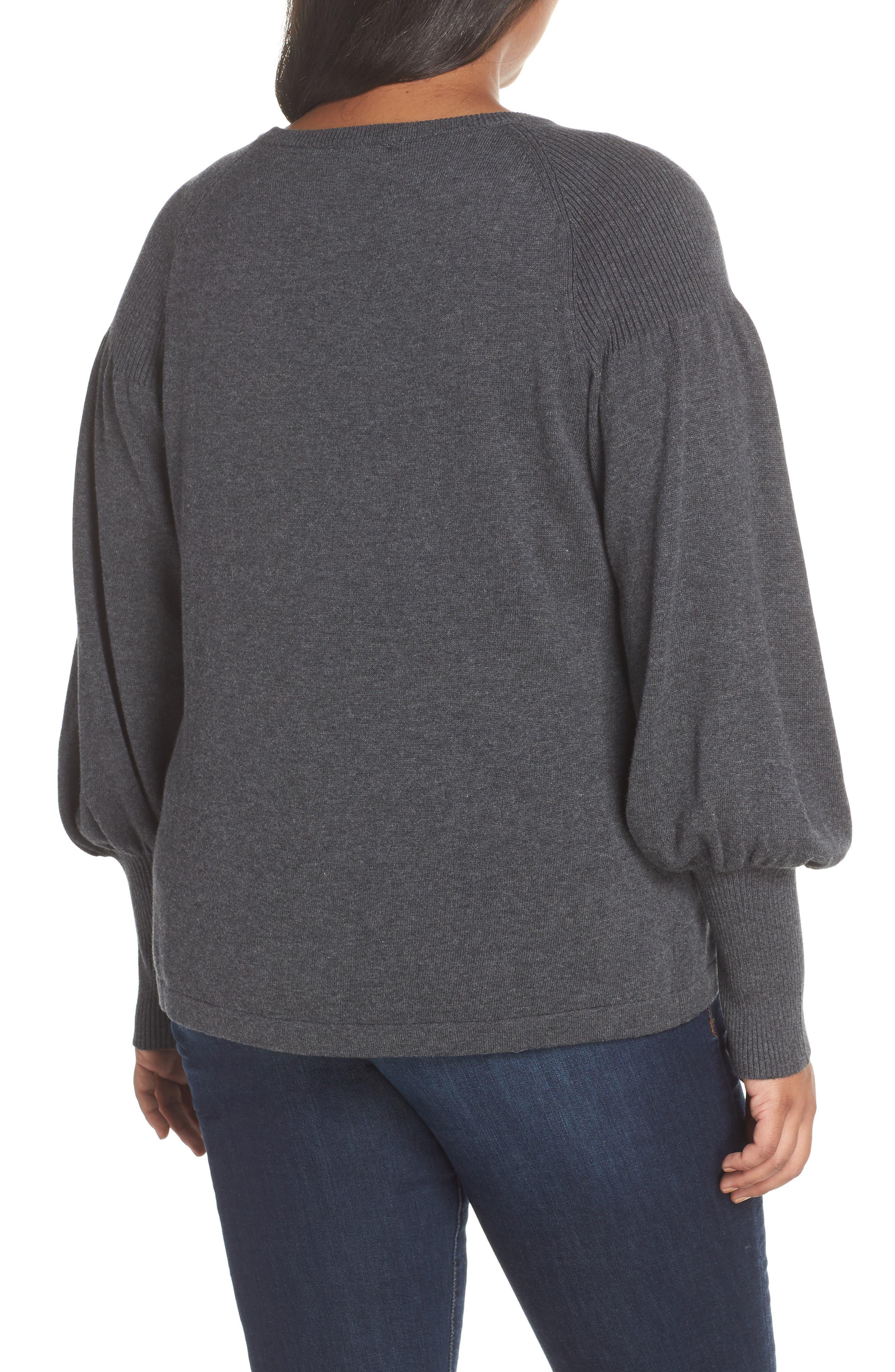Blouson Sleeve Sweater,                             Alternate thumbnail 4, color,                             MED HEATHER GREY
