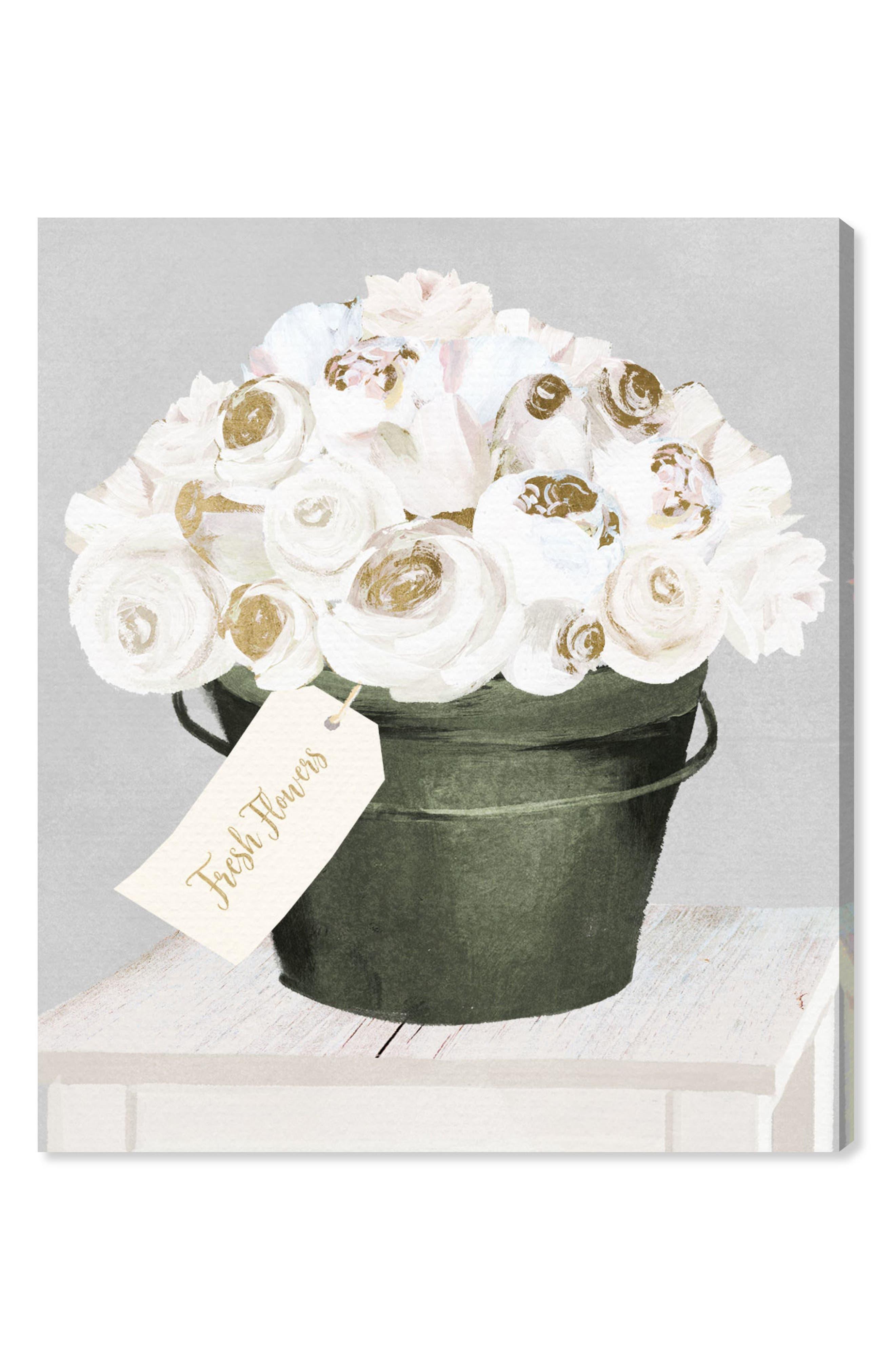 Bucket Full of Gold Roses Canvas Wall Art,                             Main thumbnail 1, color,                             100