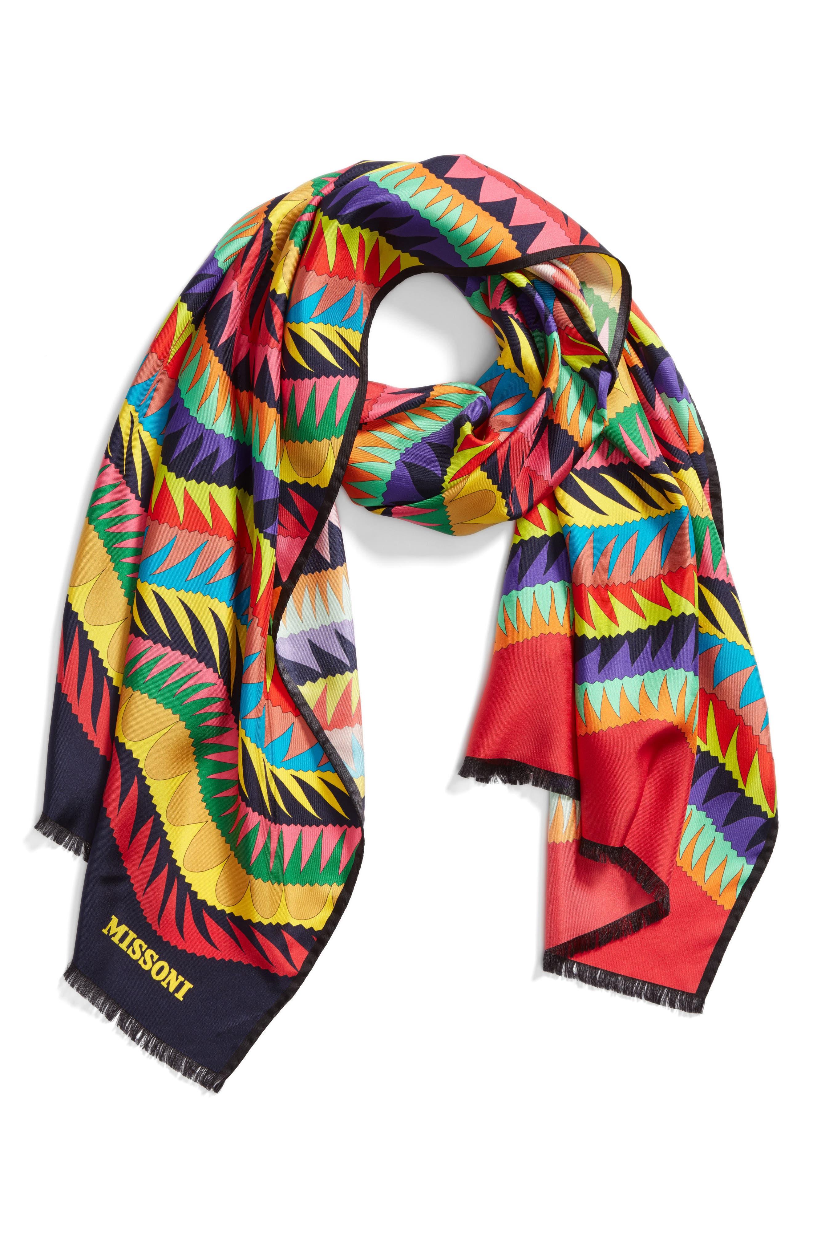 Print Silk Scarf,                         Main,                         color, 500