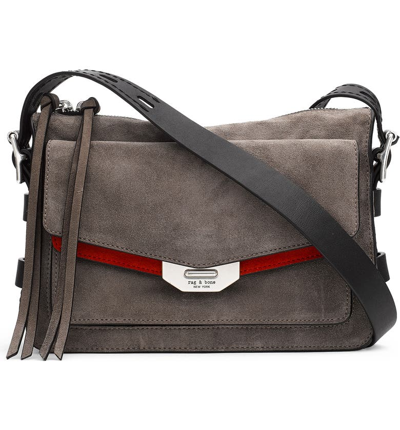 A color-pop accent at the flap and smooth contrast-leather shoulder strap  detail a slouchy messenger bag inspired by vintage military map carry cases. 5ba95f4833277