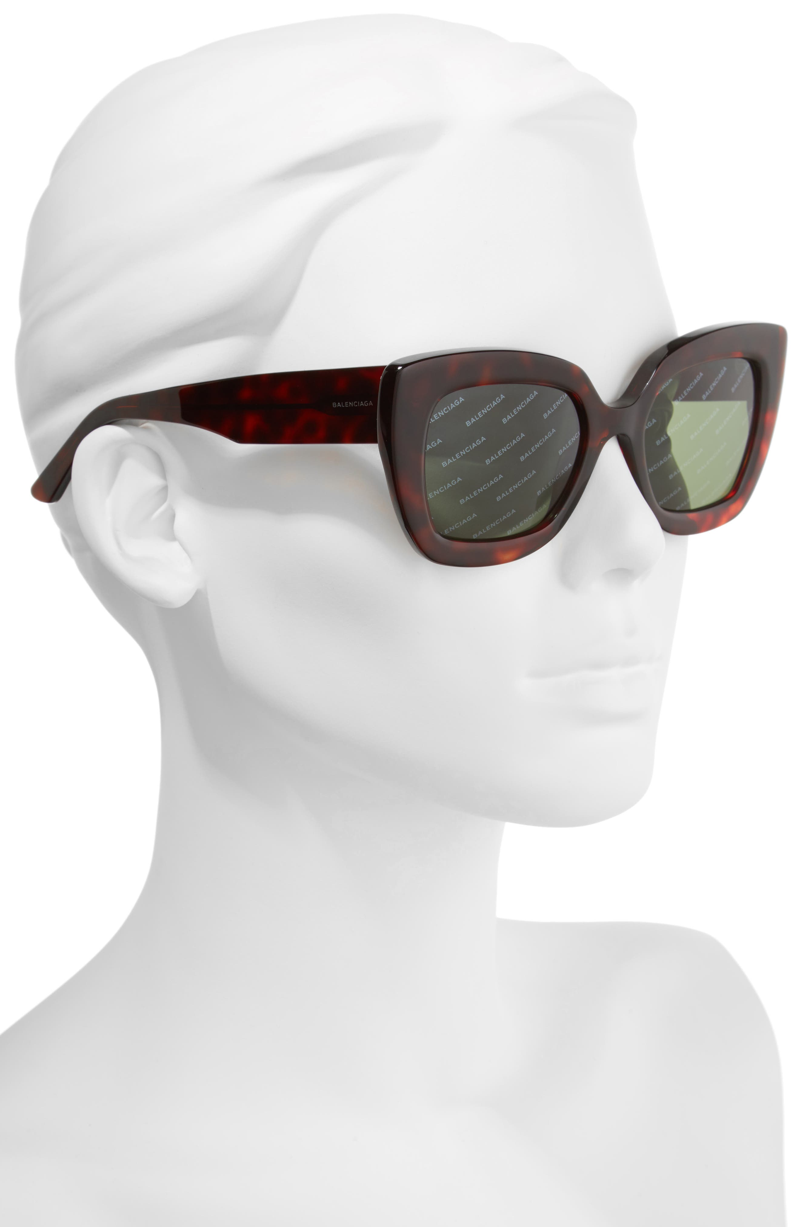 52mm Cat Eye Sunglasses,                             Alternate thumbnail 2, color,                             RED HAVANA/ GREEN