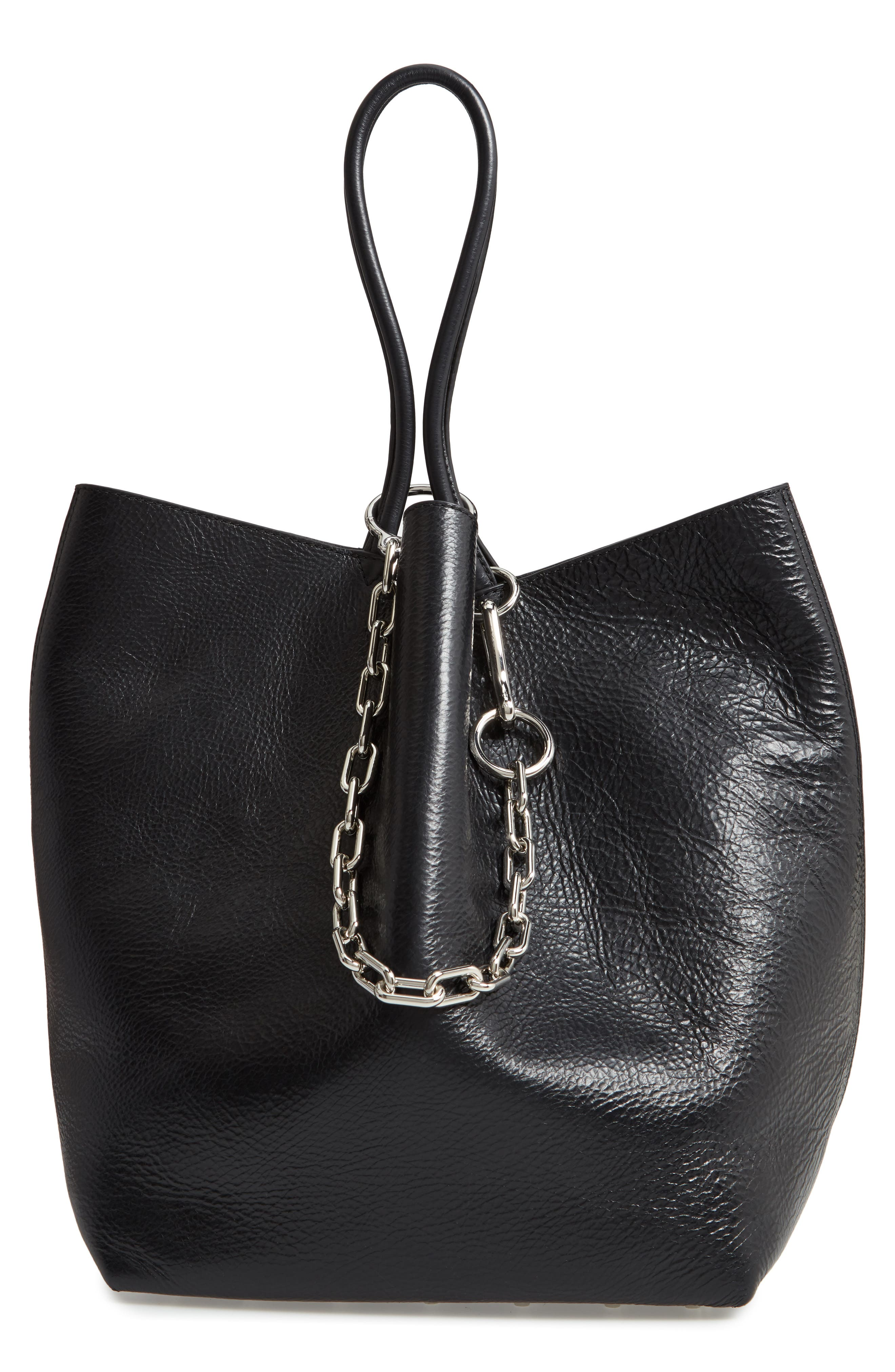 ALEXANDER WANG Large Roxy Leather Tote Bag, Main, color, BLACK