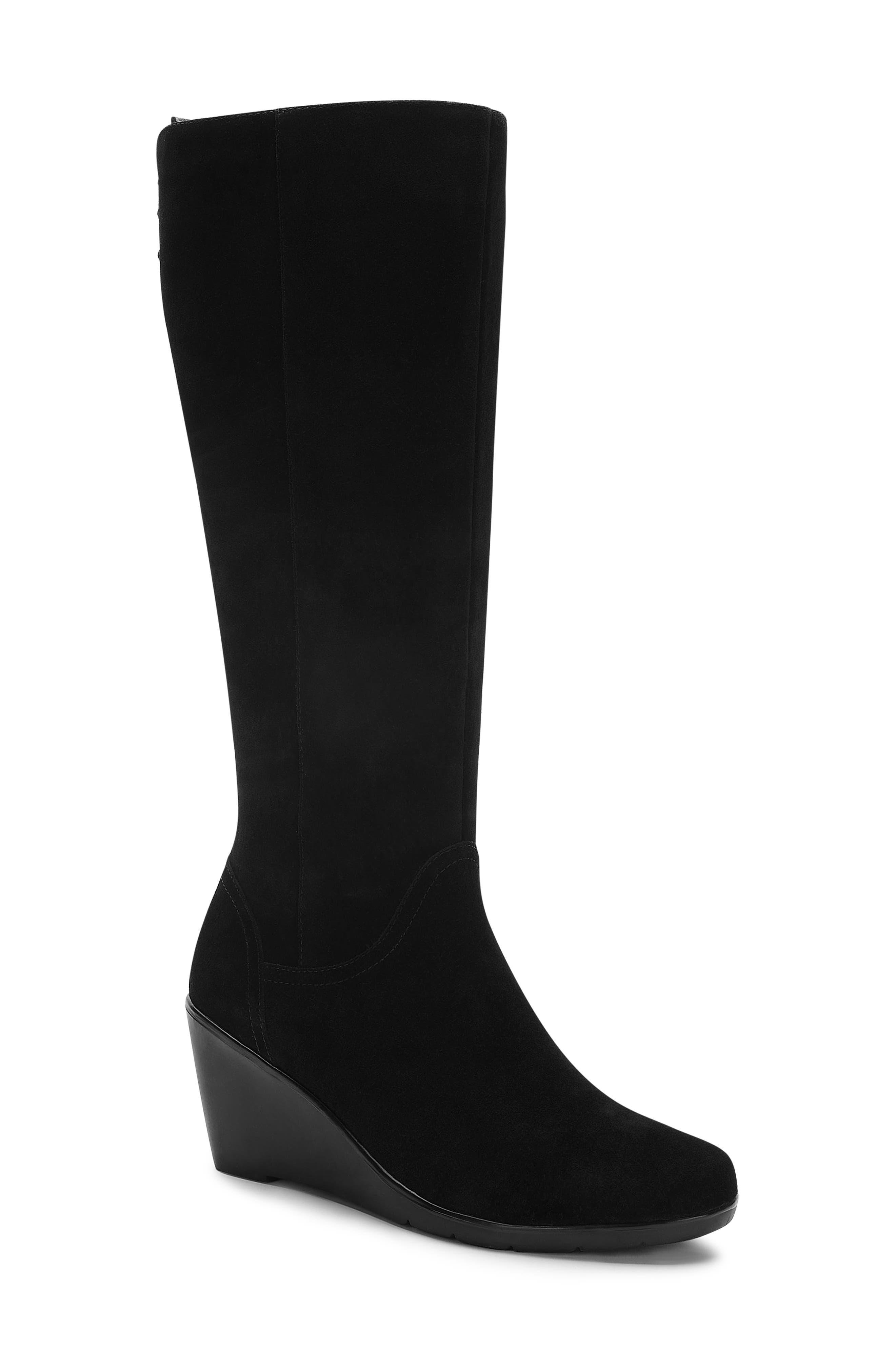 Larissa Waterproof Wedge Knee High Boot,                             Main thumbnail 1, color,                             BLACK SUEDE