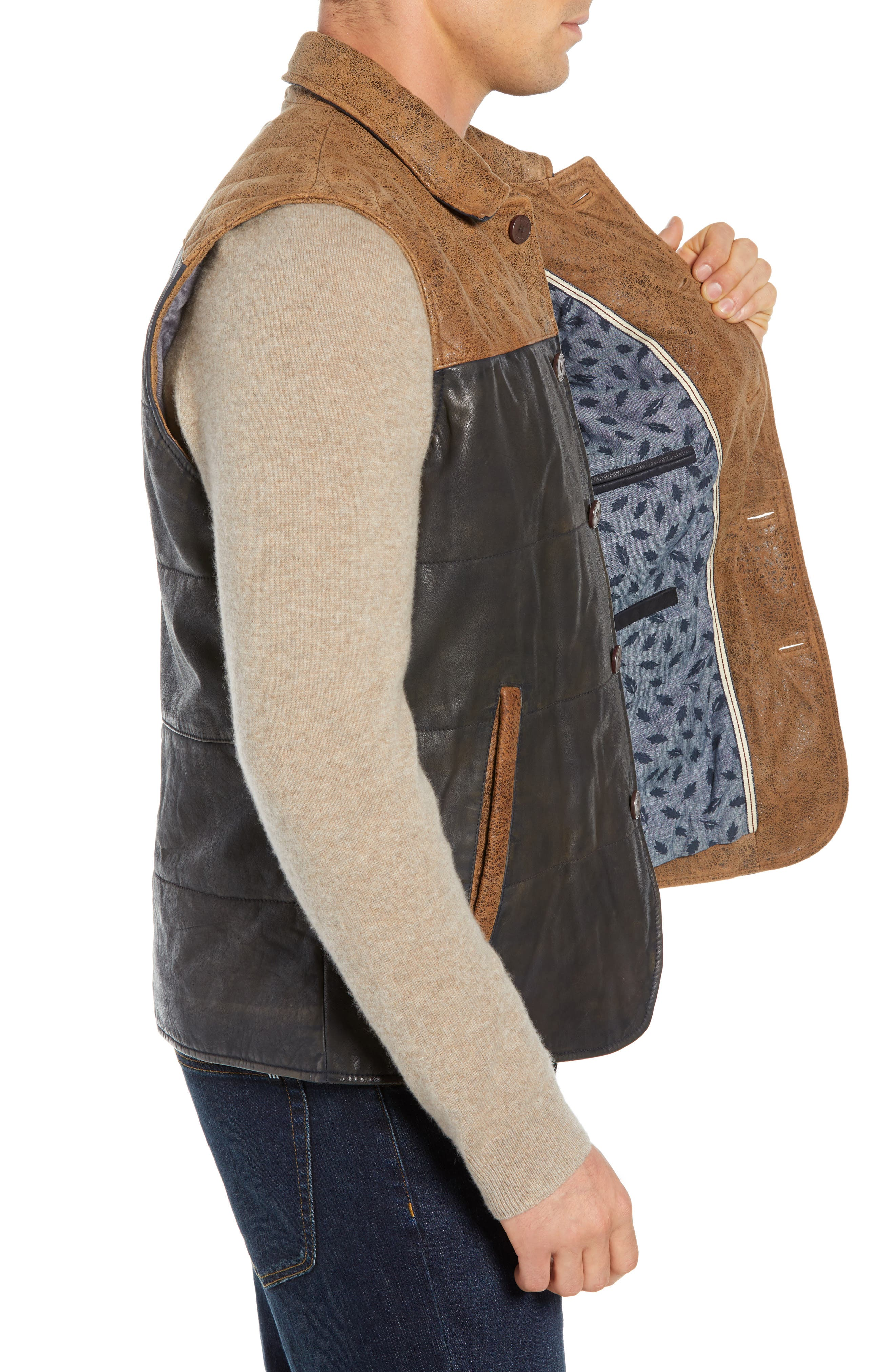 Colorblock Quilted Leather Vest,                             Alternate thumbnail 3, color,                             TAN