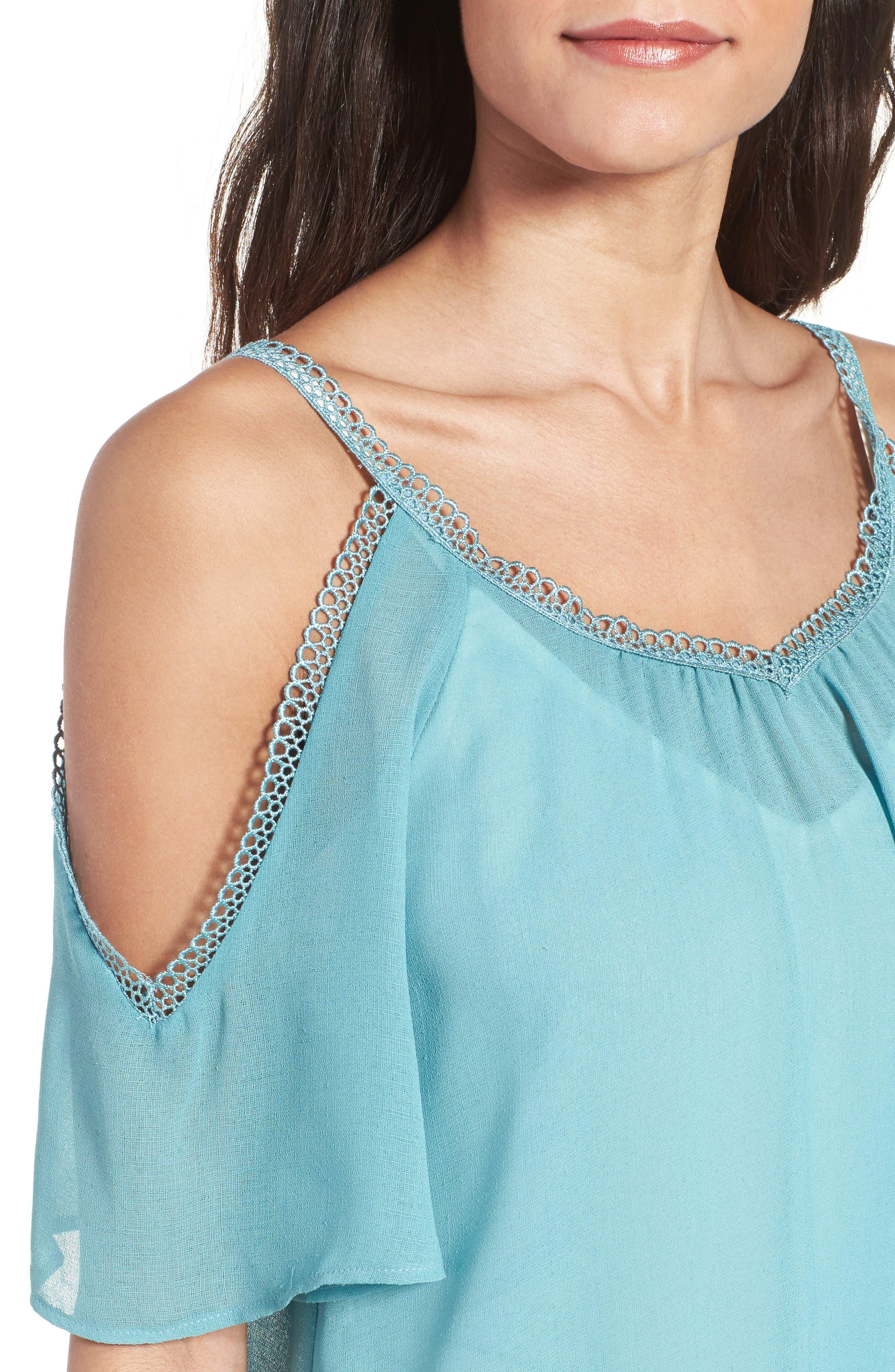 Lace Trim Off the Shoulder Top,                             Alternate thumbnail 4, color,                             420