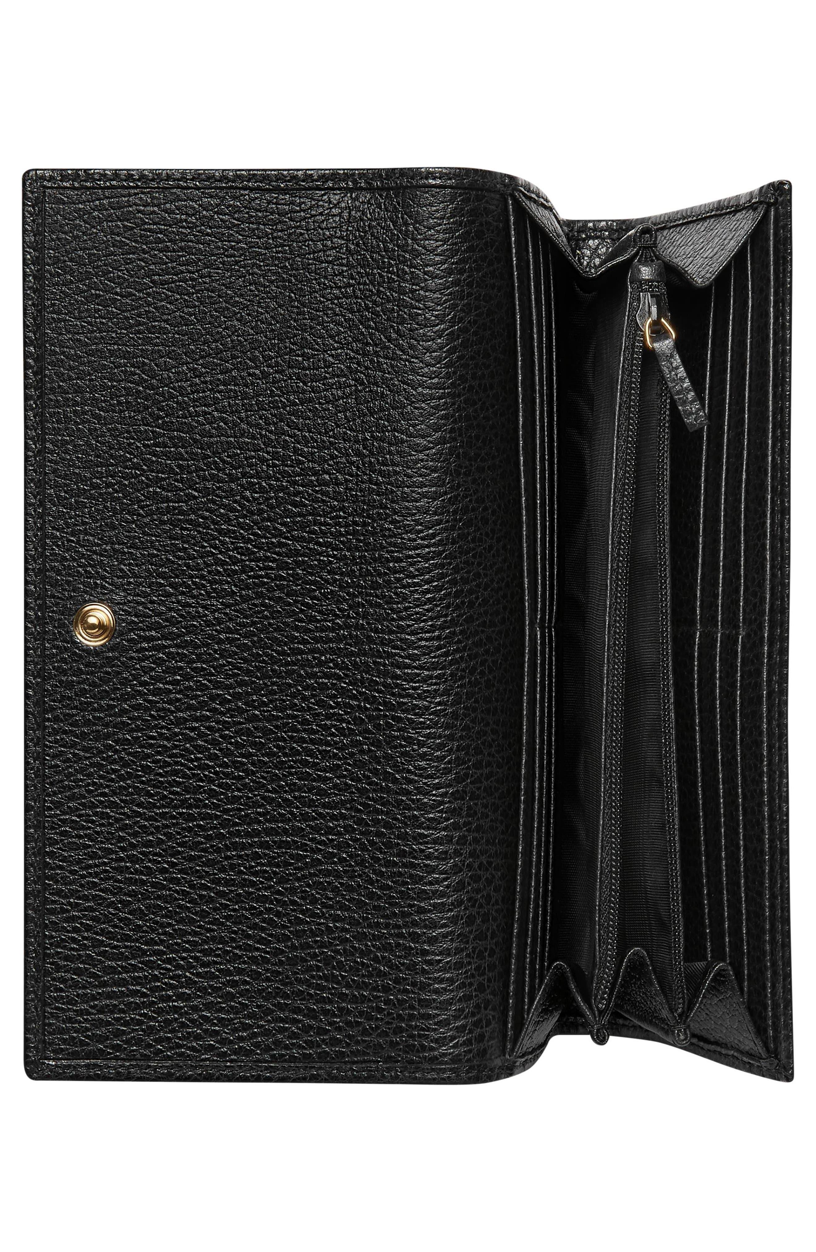 Petite Marmont Leather Continental Wallet,                             Alternate thumbnail 2, color,                             NERO/ NERO